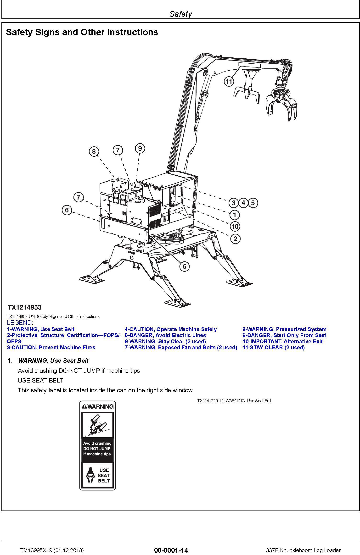 John Deere 337E (SN. C306736-) Knuckleboom Log Loader Repair Manual (TM13995X19) - 1