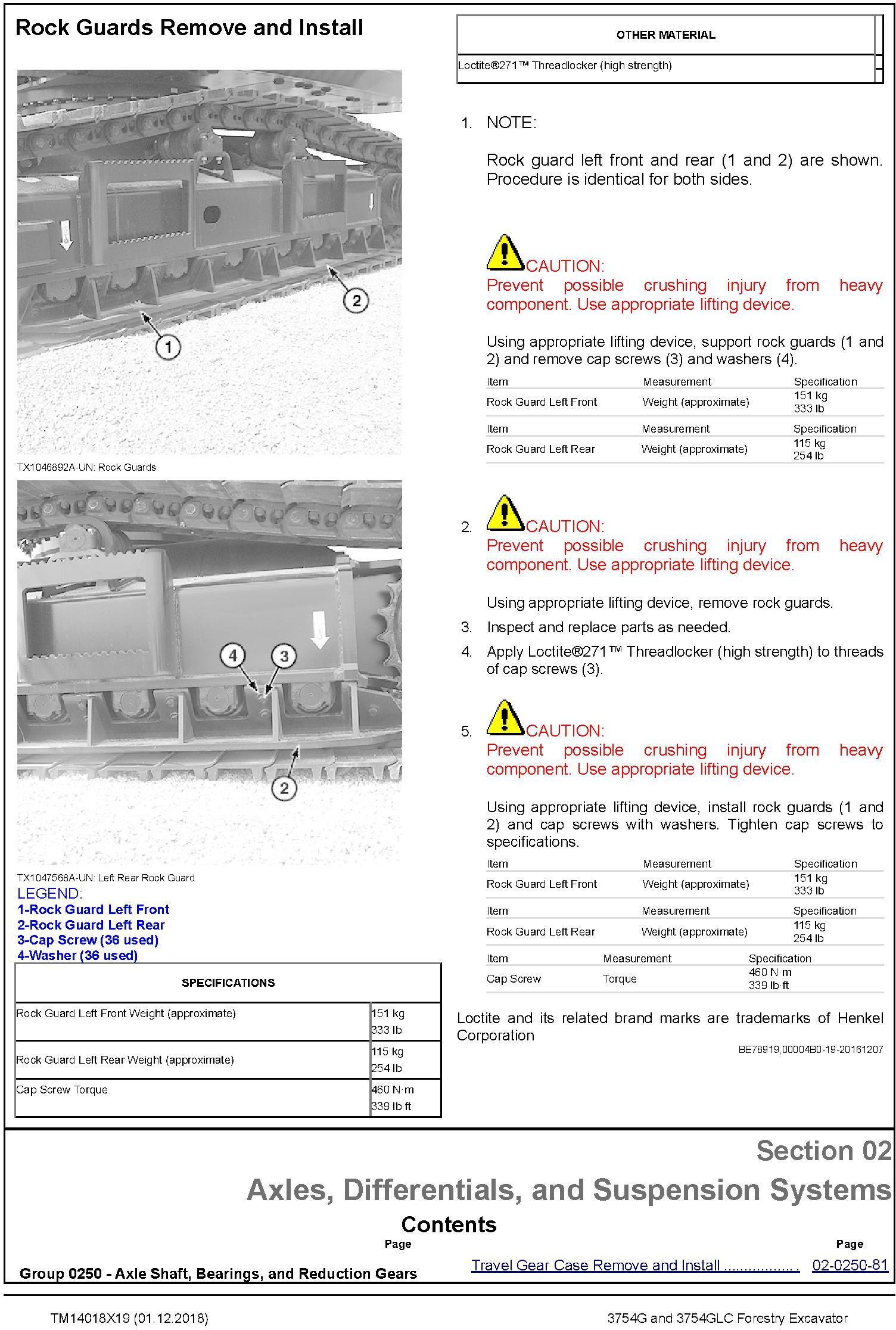 John Deere 3754G, 3754GLC (SN .D371001-) Forestry Excavator Repair Technical Manual (TM14018X19) - 2