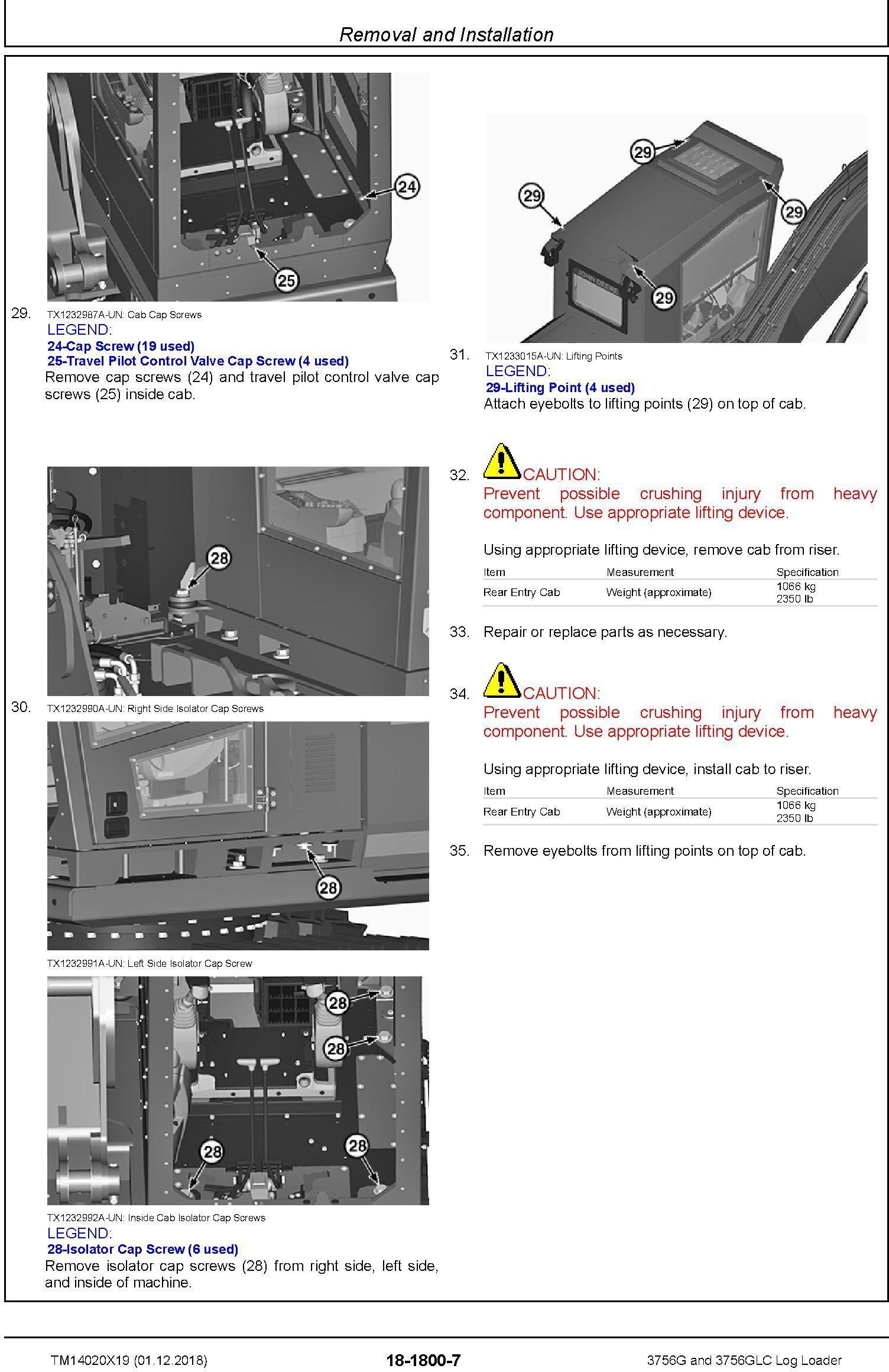John Deere 3756G, 3756GLC (SN. D376001-) Log Loader Repair Technical Service Manual (TM14020X19) - 3