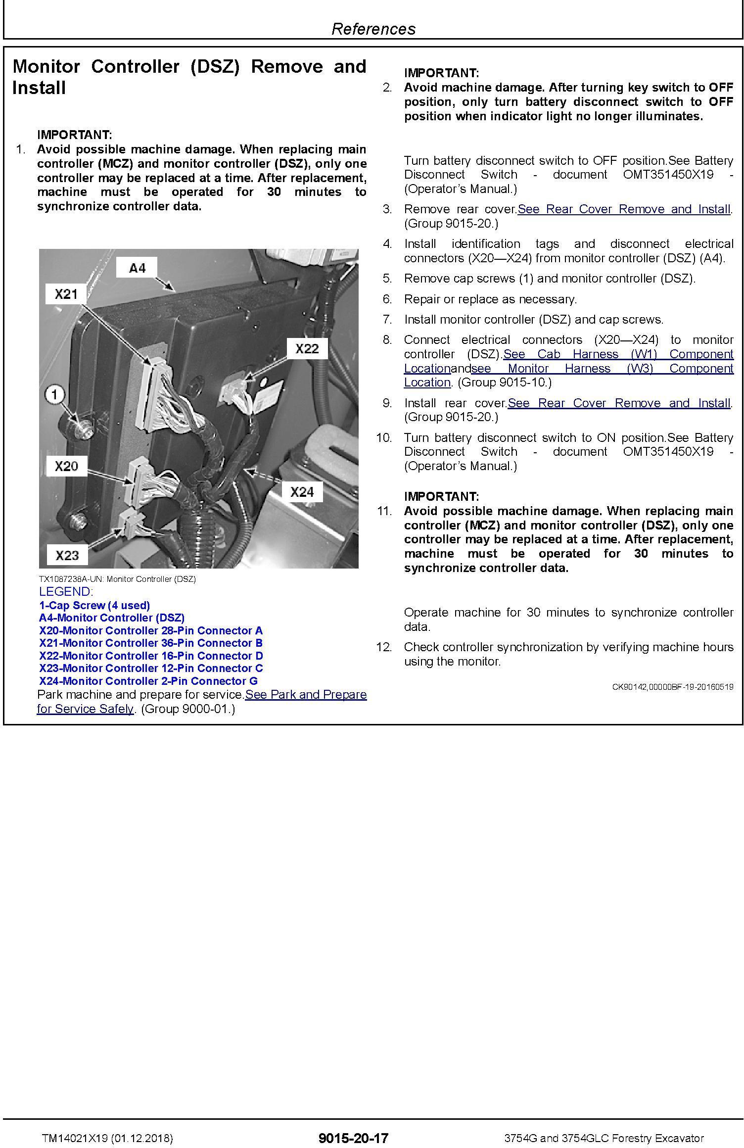 John Deere 3754G, 3754GLC (SN. F371001-) Forestry Excavator Diagnostic Technical Manual (TM14021X19) - 2