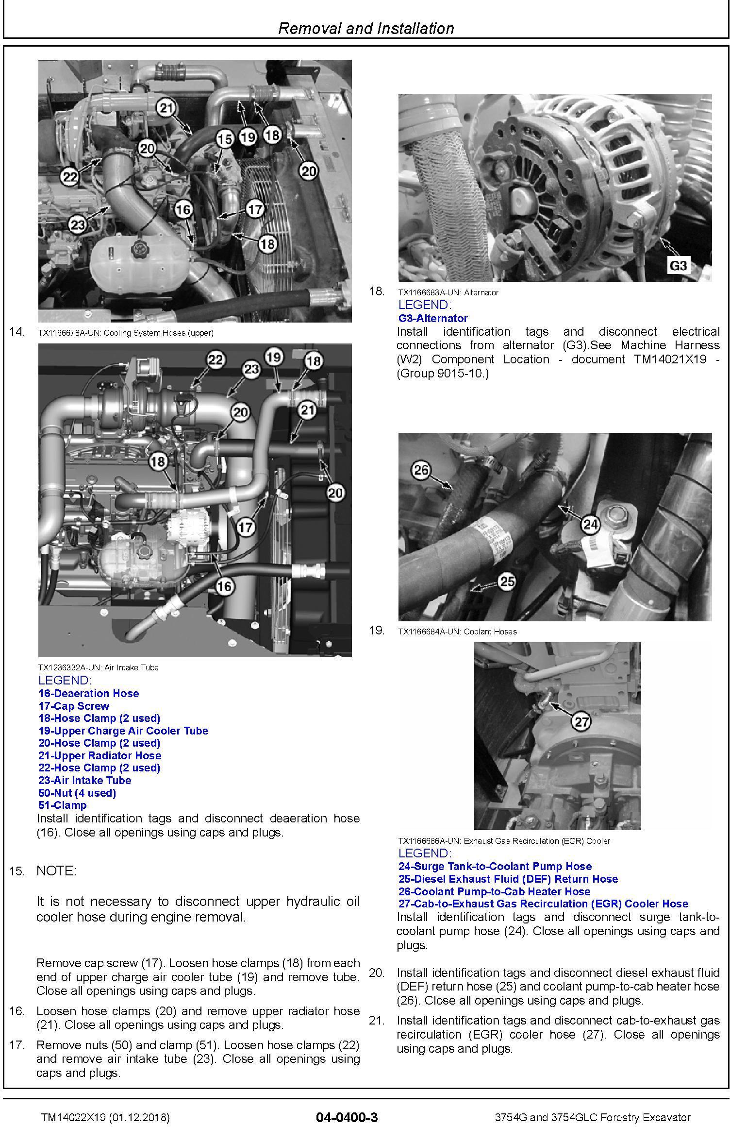John Deere 3754G and 3754GLC (SN. F371001-) Forestry Excavator Repair Technical Manual (TM14022X19) - 2
