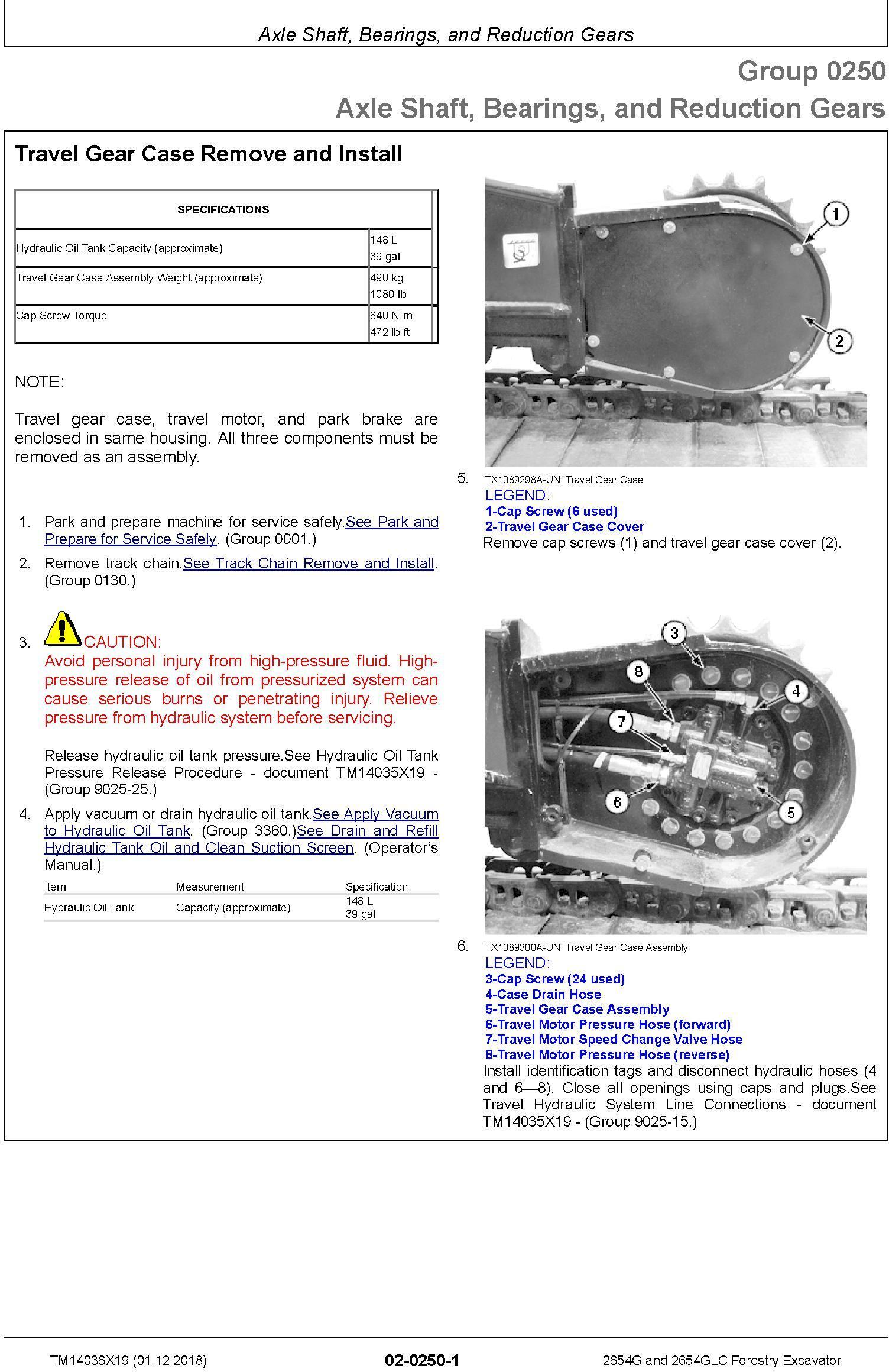John Deere 2654G,2654GLC (SN.C260001-,D260001) Forestry Excavator Repair Service Manual (TM14036X19) - 2
