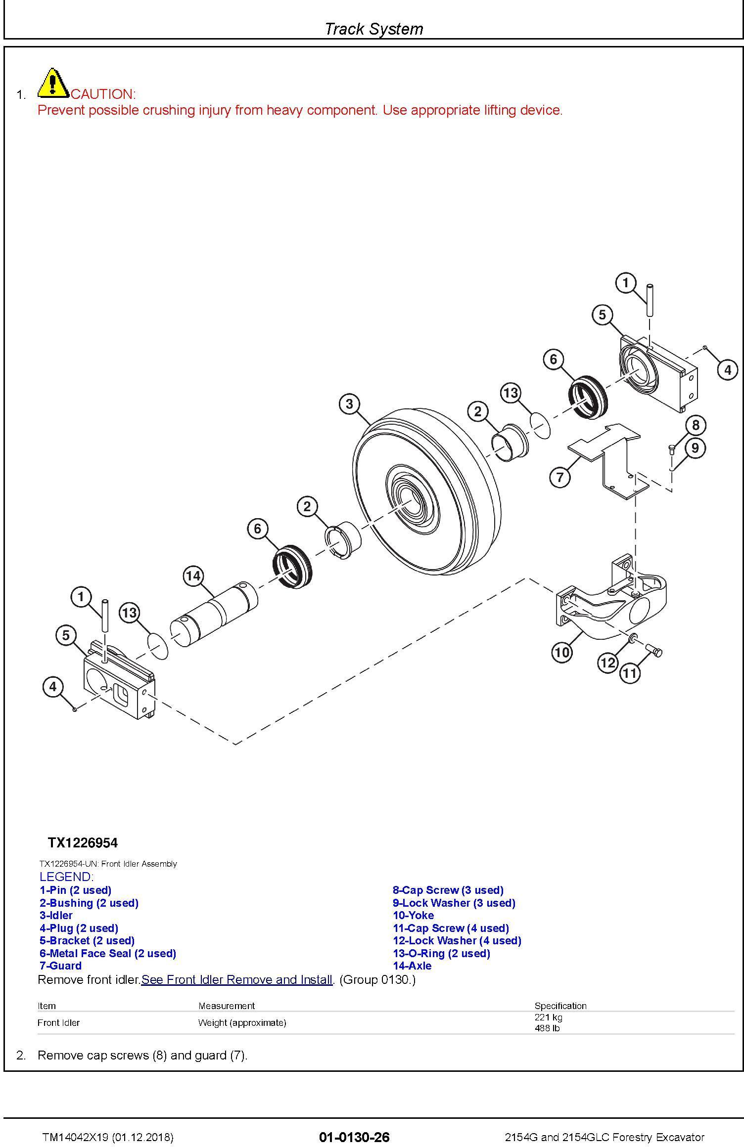 John Deere 2154G, 2154GLC (SN. F212400-) Forestry Excavator Repair Technical Manual (TM14042X19) - 2