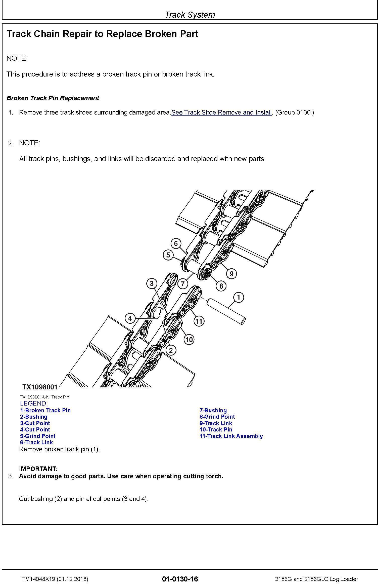 John Deere 2156G, 2156GLC (SN. C216001-, D216001) Log Loader Repair Technical Manual (TM14048X19) - 2