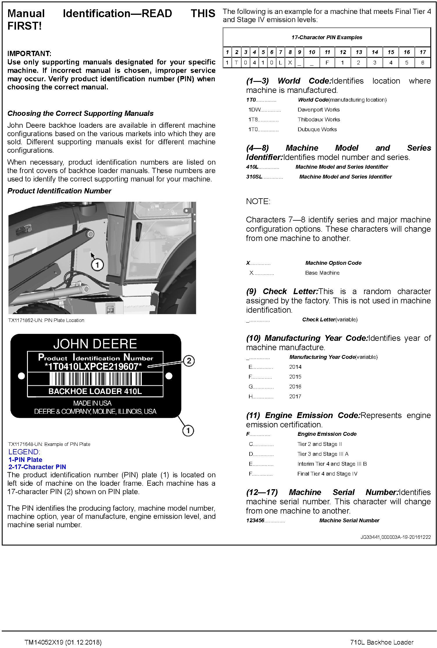 John Deere 710L (SN. from F294268) Backhoe Loader Service Repair Technical Manual (TM14052X19) - 1