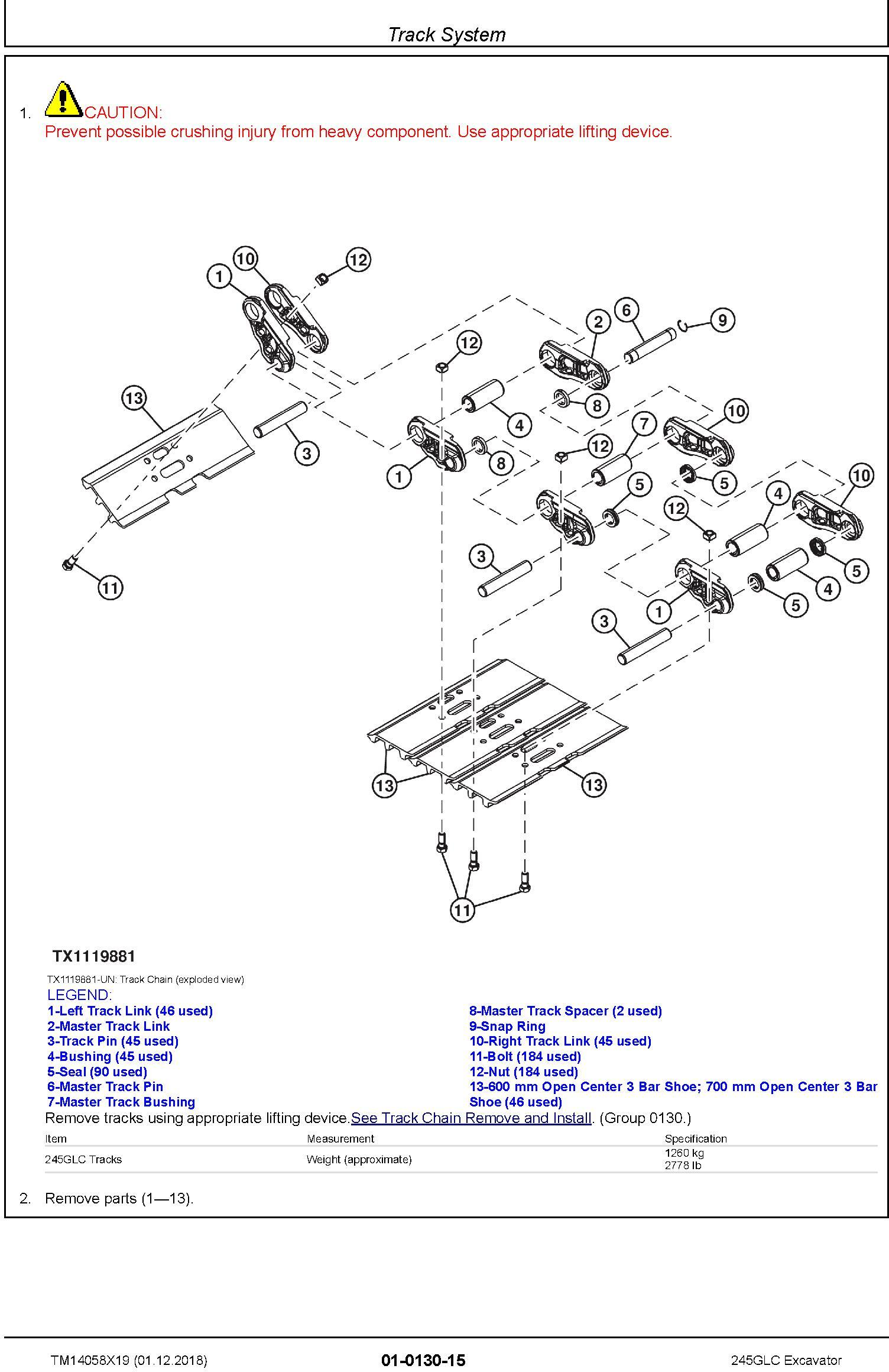 John Deere 245GLC (SN. From F800001) Excavator Service Repair Technical Manual (TM14058X19) - 1