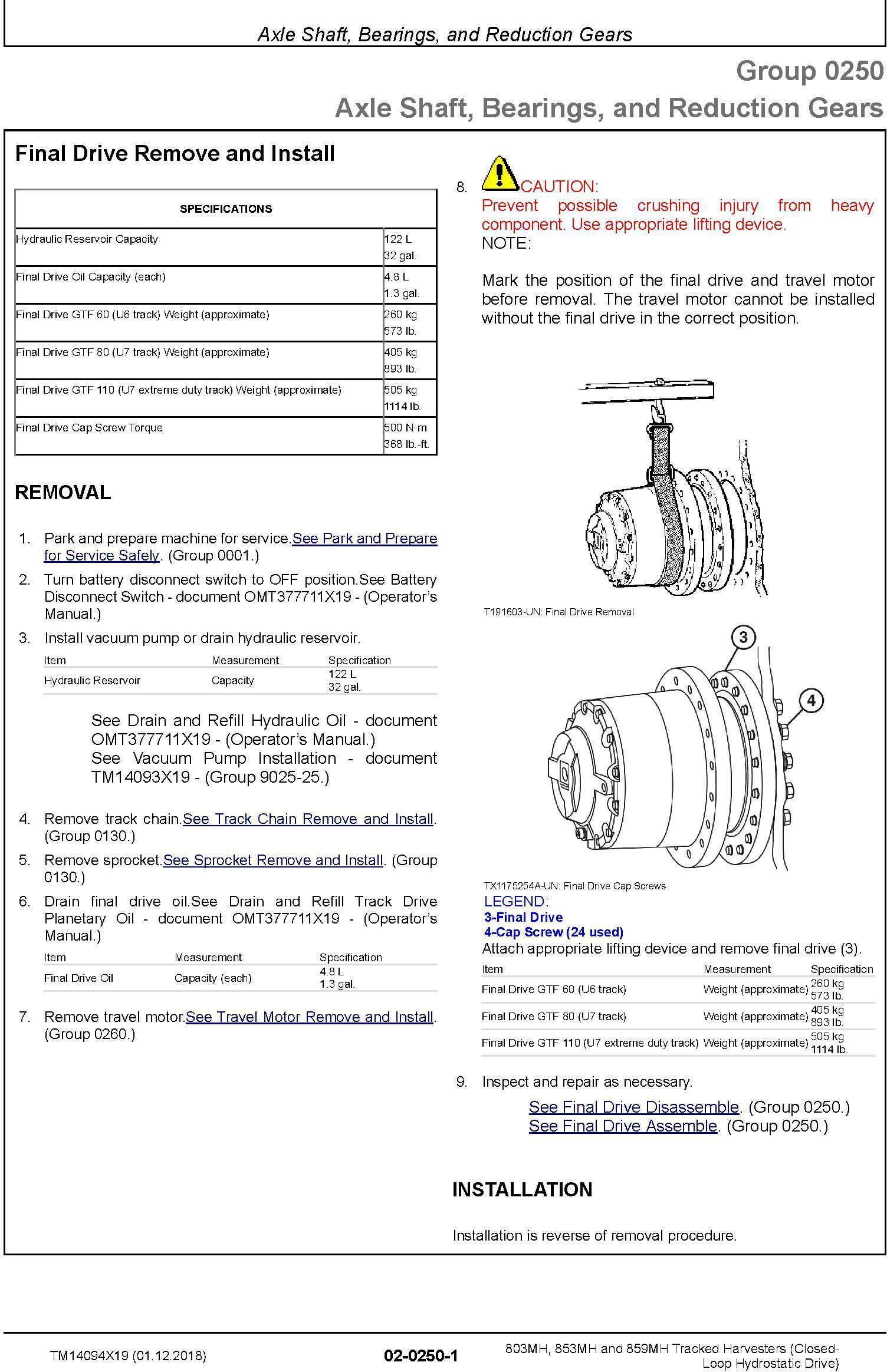John Deere 803MH,853MH,859MH (SN.F293917-,L343918-) Harvester (Closed-Loop) Repair Manual TM14094X19 - 1