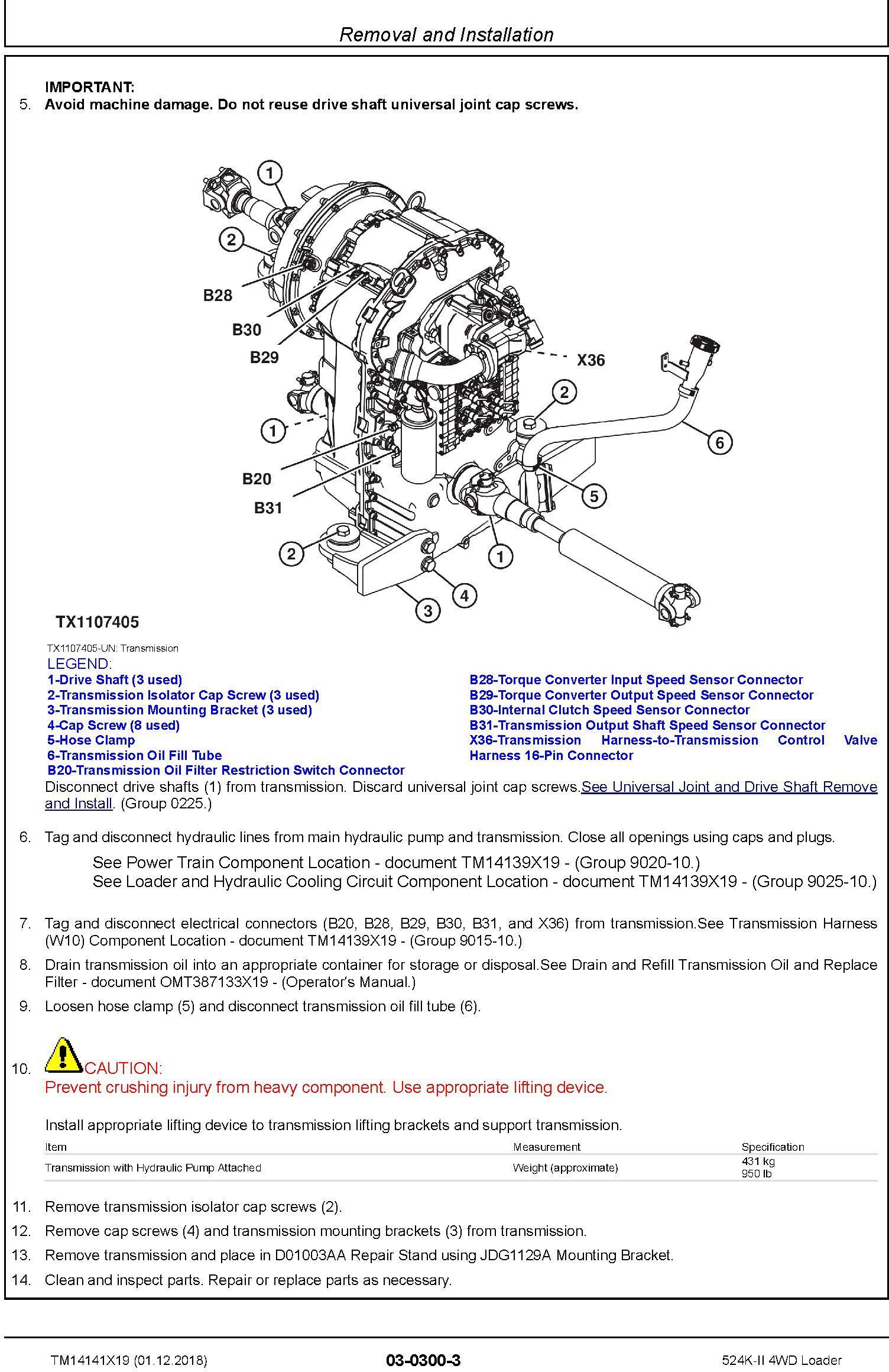 John Deere 524K-II (SN. D677549-) 4WD Loader Repair Technical Service Manual (TM14141X19) - 1