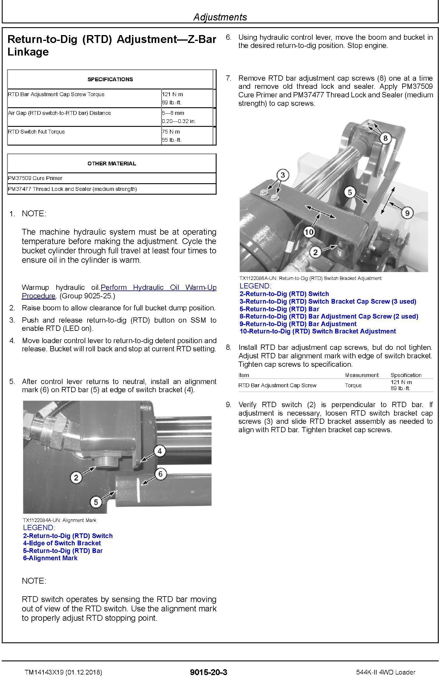 John Deere 544K-II (SN. D677549-) 4WD Loader Operation & Test Technical Service Manual (TM14143X19) - 2