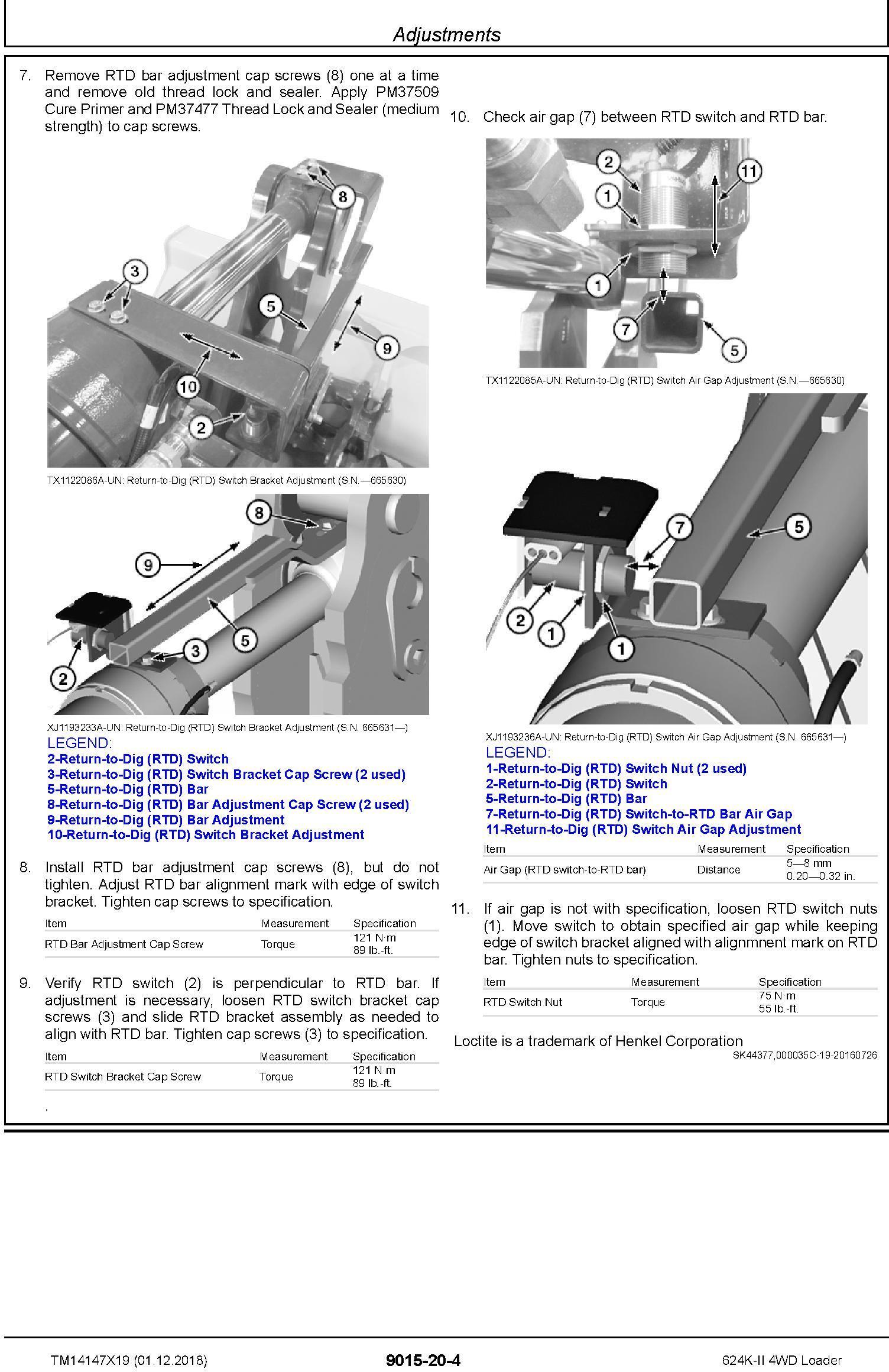 John Deere 624K-II (SN: C677549-, D677549-) 4WD Loader Operation & Test Service Manual (TM14147X19) - 2
