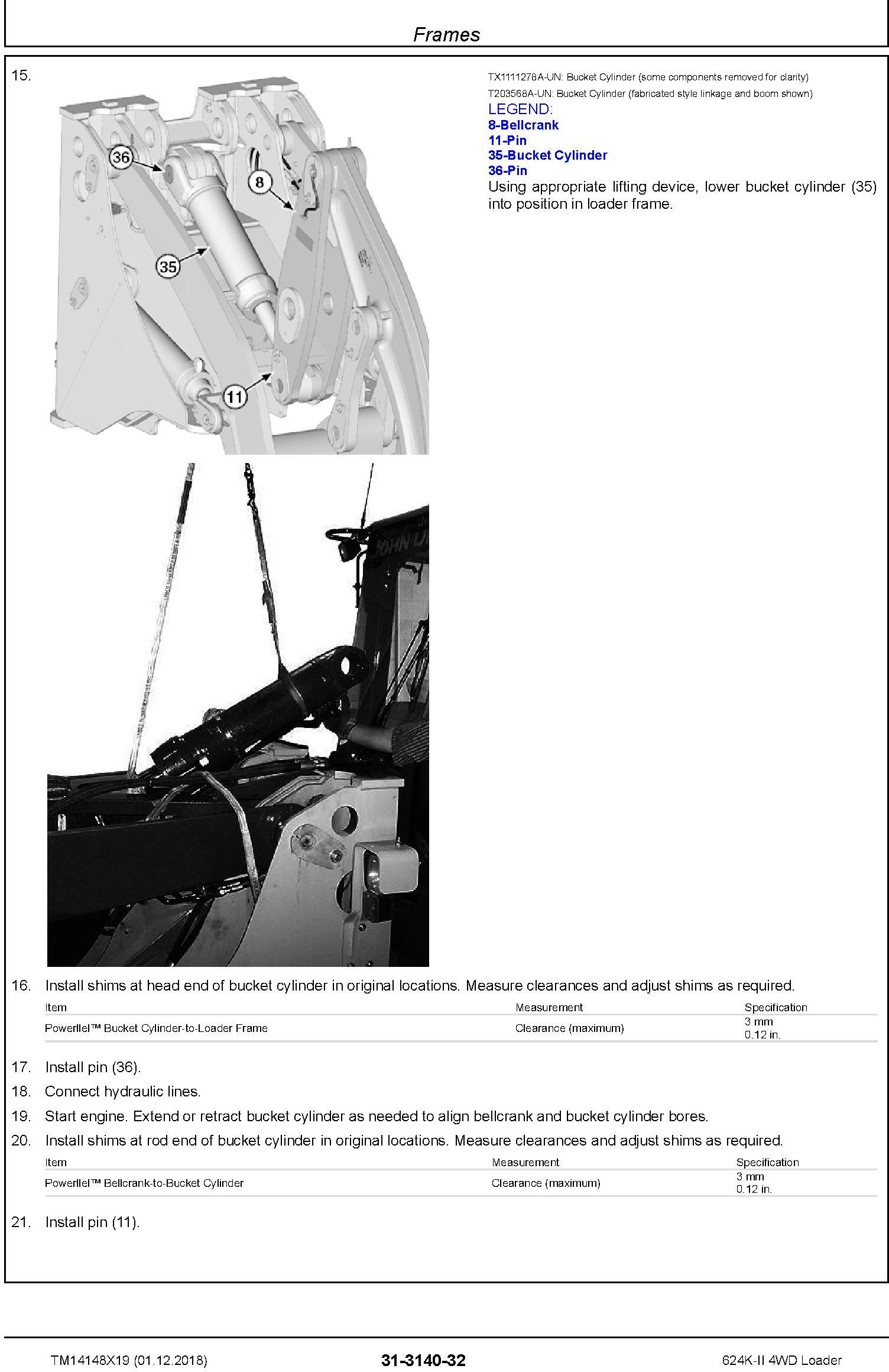John Deere 624K-II (SN. F677549-) 4WD Loader Repair Technical Service Manual (TM14148X19) - 2