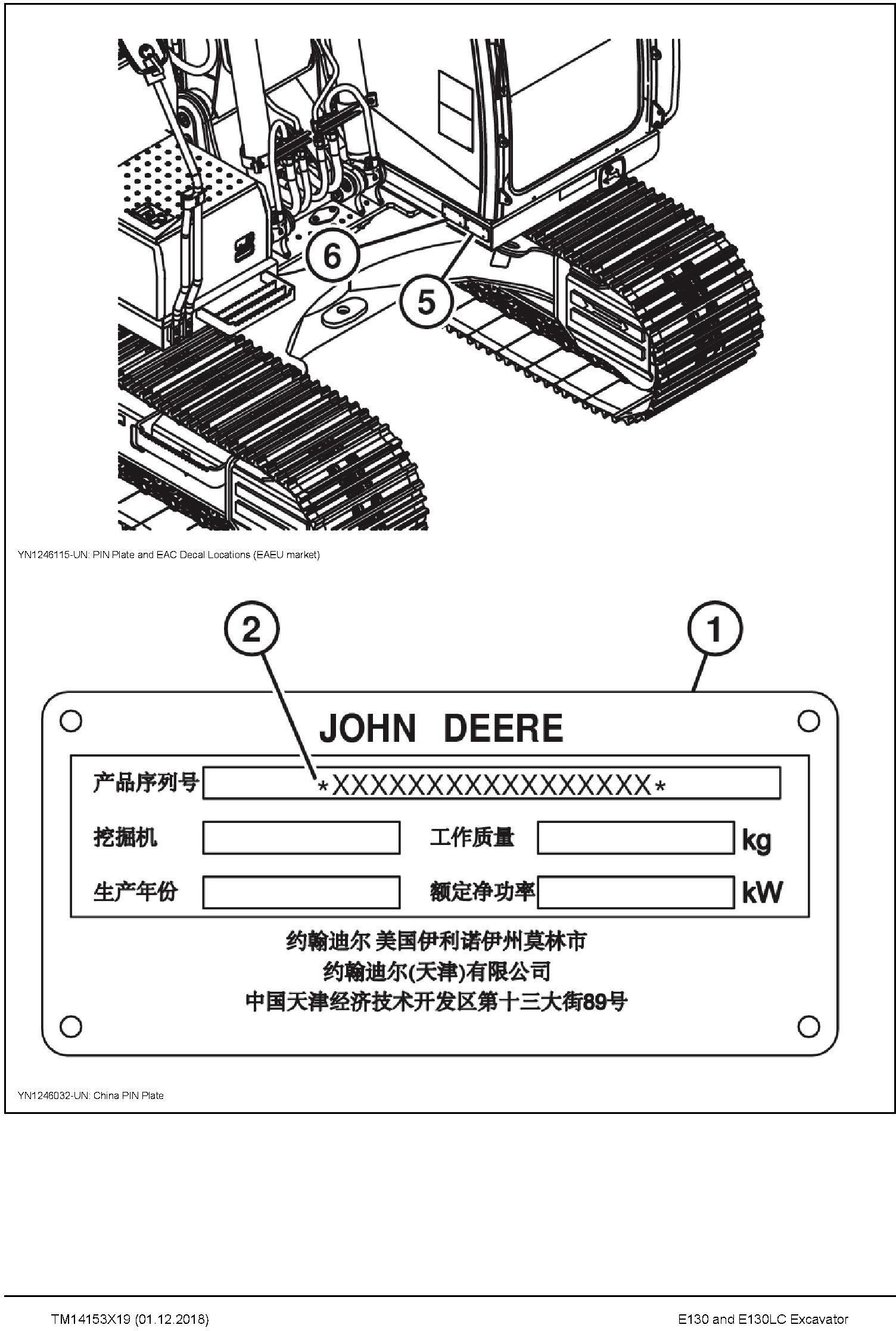 John Deere E130, E130LC (SN.from D300003) Excavator Repair Technical Manual (TM14153X19) - 1