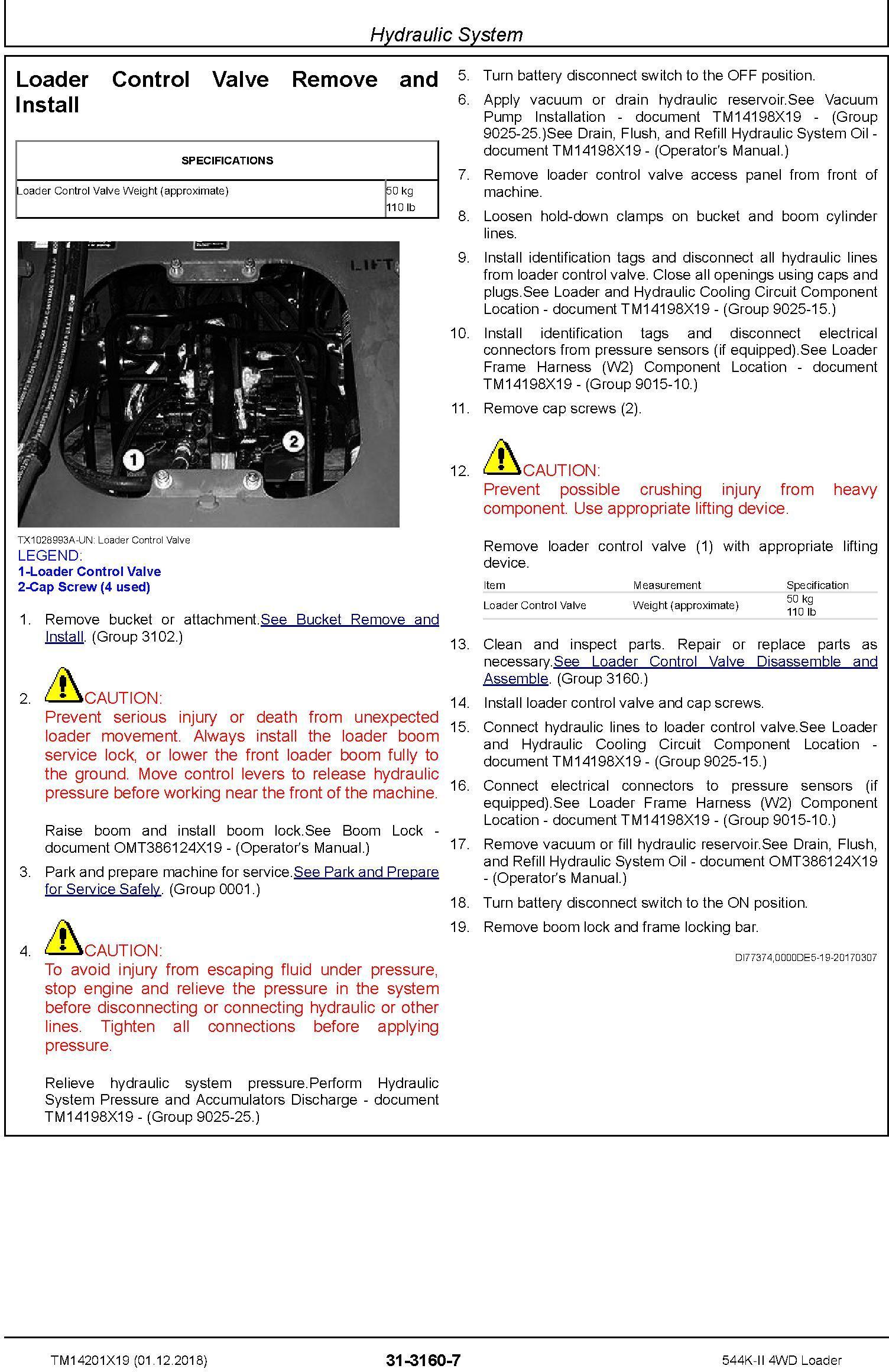 John Deere 544K-II (SN. D001001-) 4WD Loader Repair Technical Service Manual (TM14201X19) - 3
