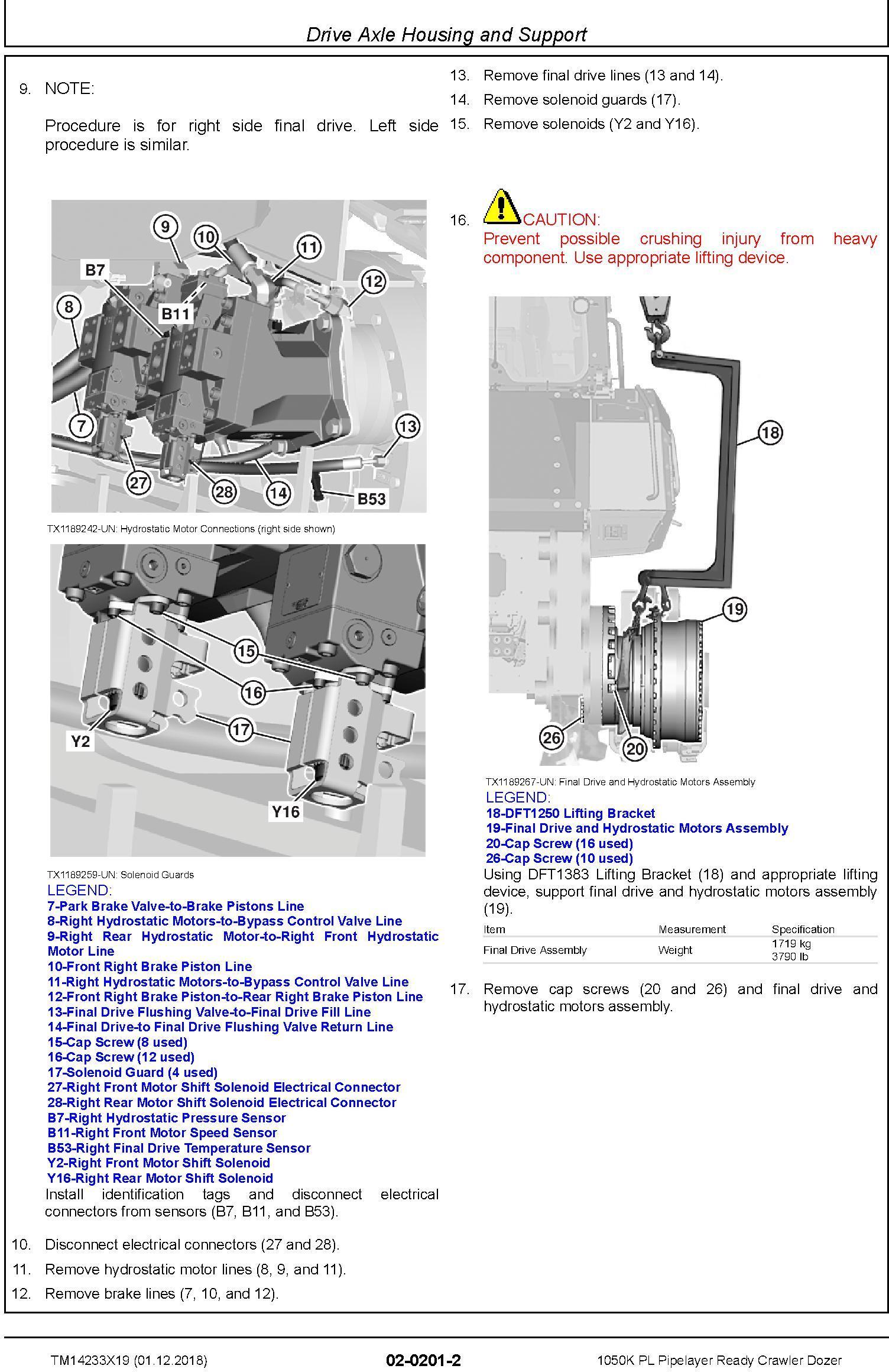 John Deere 1050K PL (SN. F310922-318801) Pipelayer Ready Crawler Dozer Repair Manual (TM14233X19) - 3