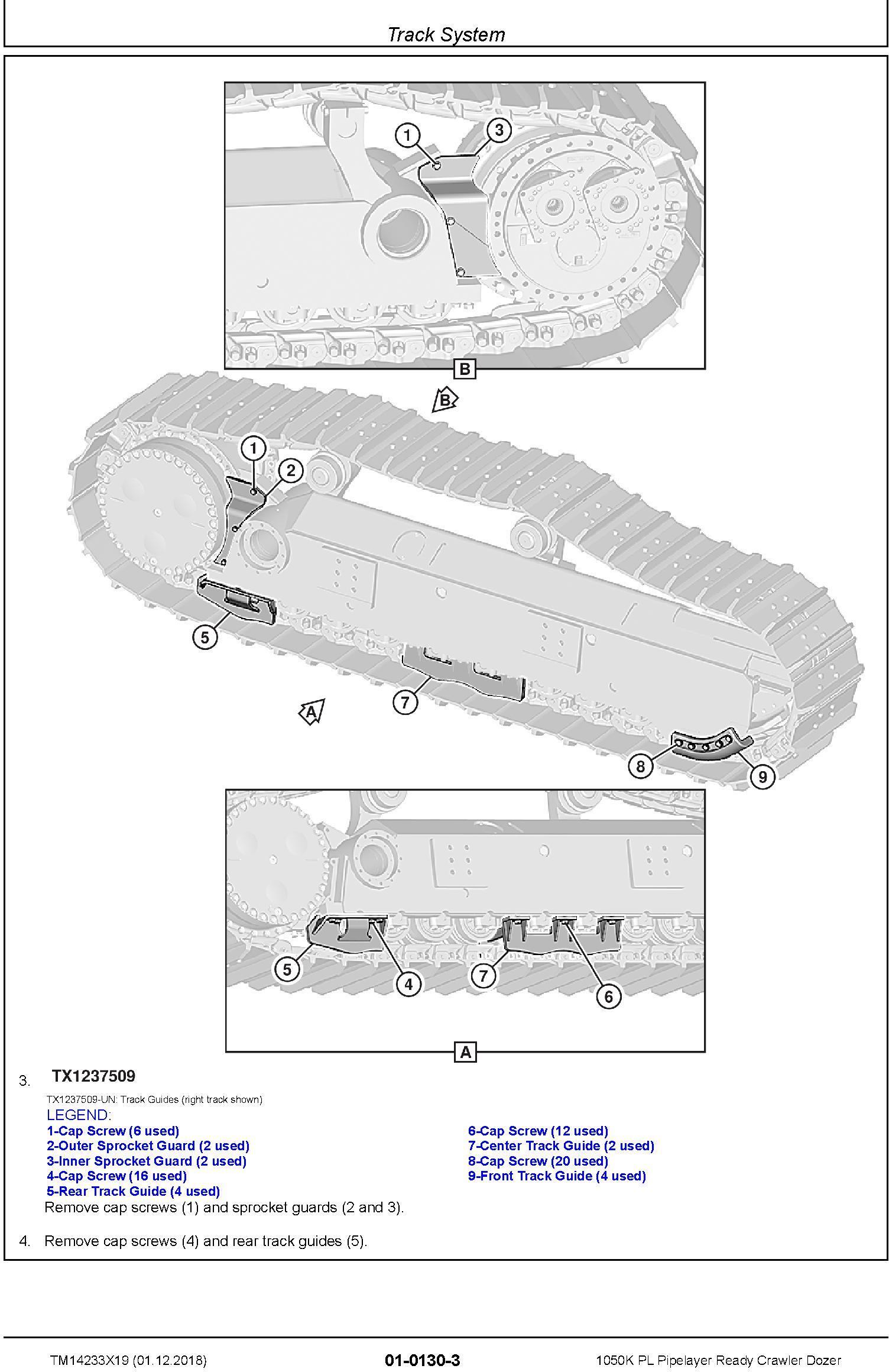 John Deere 1050K PL (SN. F310922-318801) Pipelayer Ready Crawler Dozer Repair Manual (TM14233X19) - 1