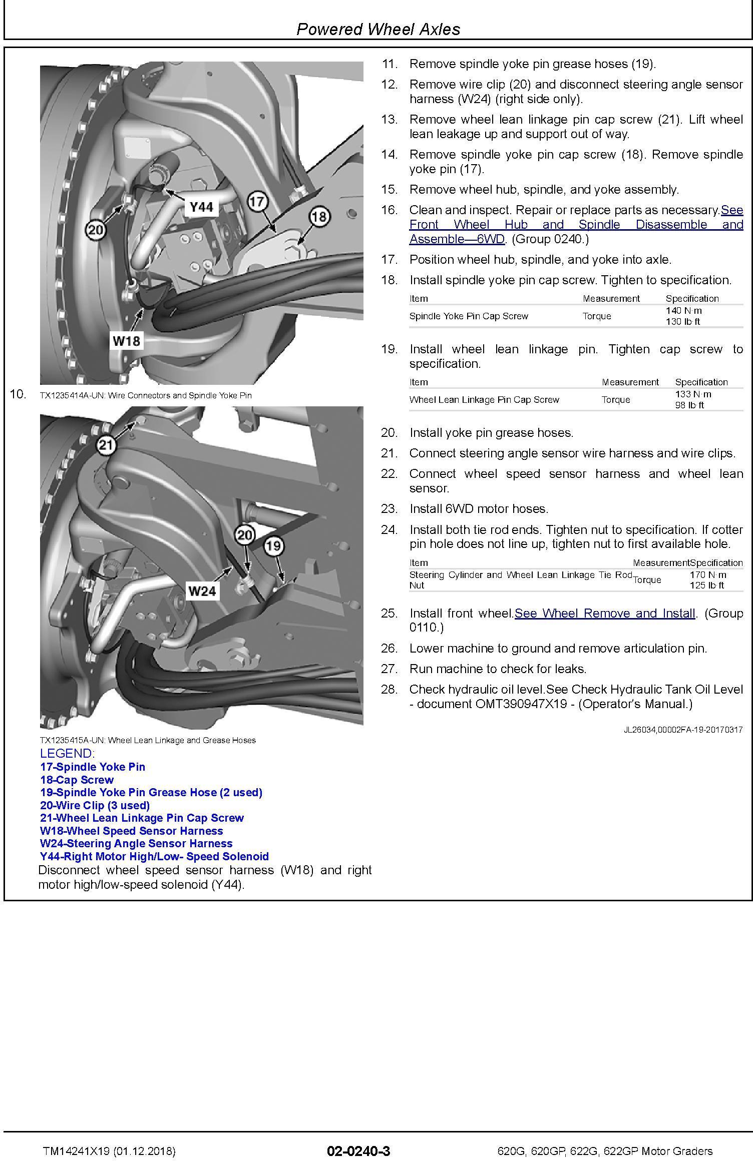 John Deere 620G, 620GP, 622G, 622GP (SN.F680878-,L700954-) Motor Graders Repair Manual (TM14241X19) - 2
