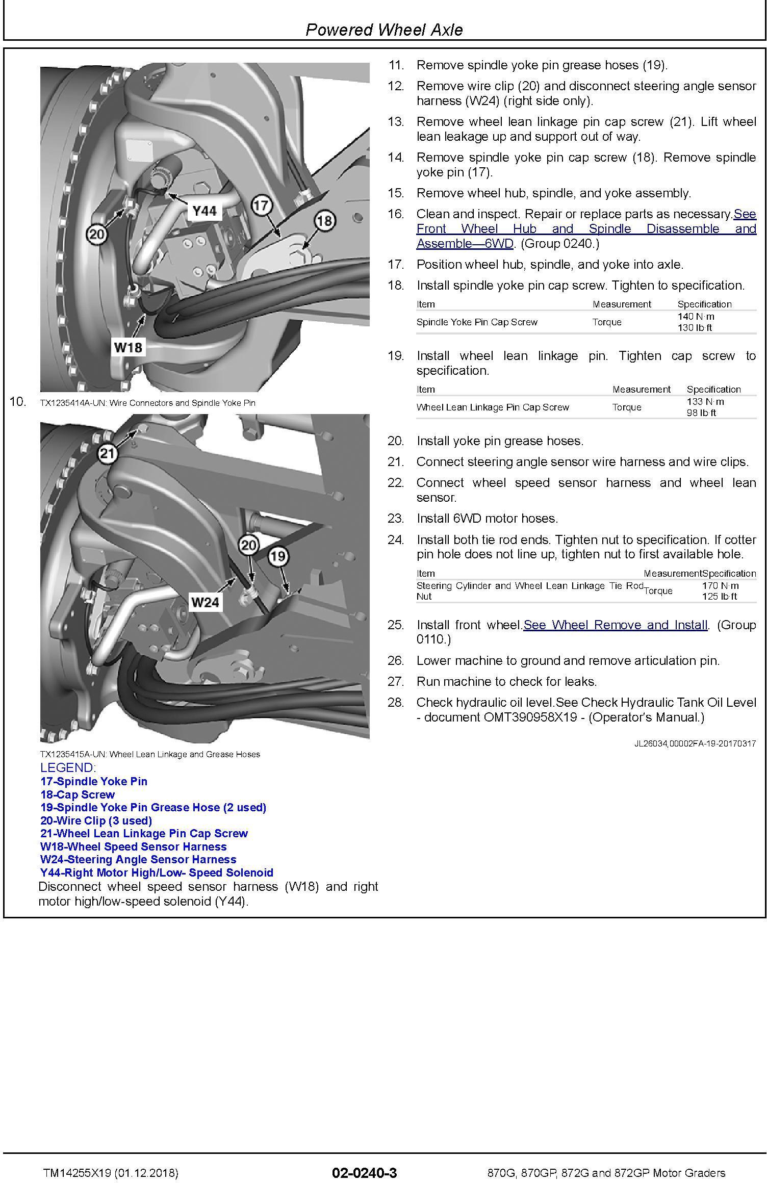 John Deere 870G, 870GP, 872G, 872GP (SN. C680878-,D680878-) Motor Graders Repair Manual (TM14255X19) - 2