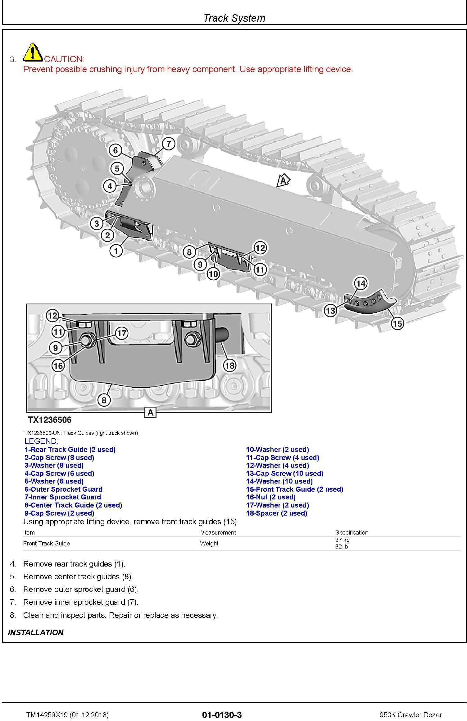 John Deere 950K (SN. C310401-338999) Crawler Dozer Repair Technical Service Manual (TM14259X19) - 1