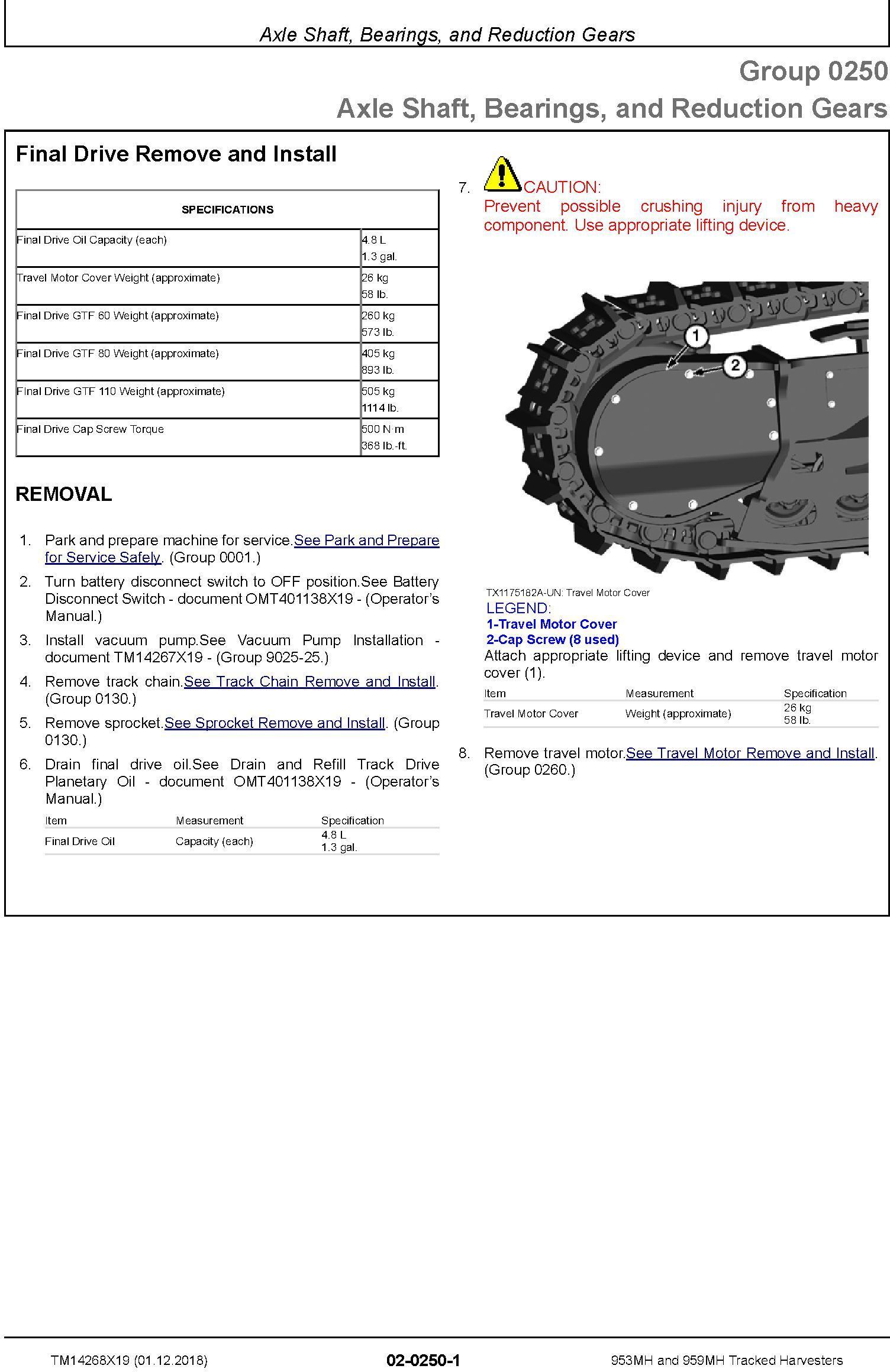 John Deere 953MH, 959MH (SN.C317982-,D317982-) Tracked Harvesters Service Repair Manual (TM14268X19) - 1