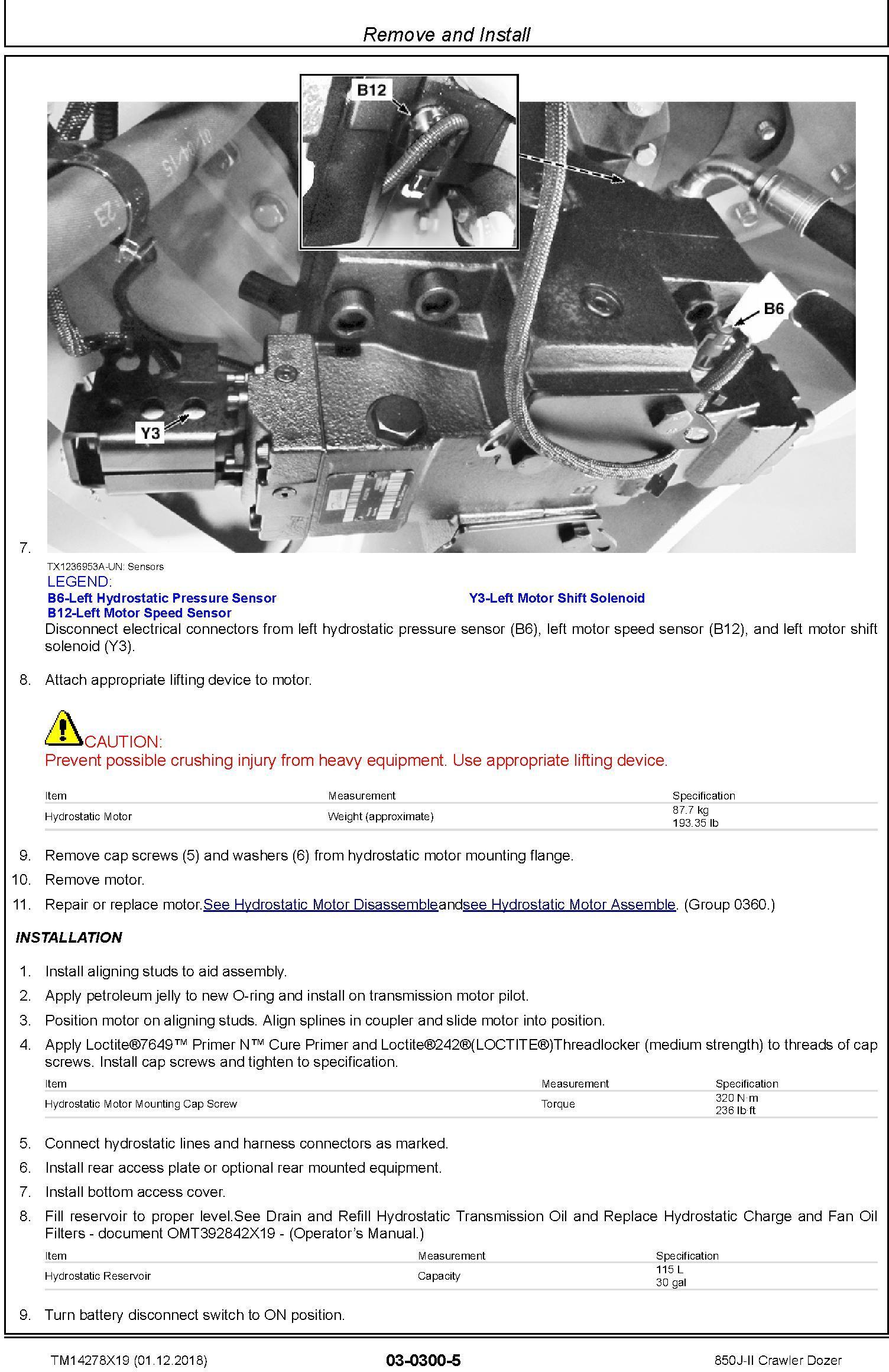 John Deere 850J-II (SN. D000001-) Crawler Dozer Repair Service Manual (TM14278X19) - 3