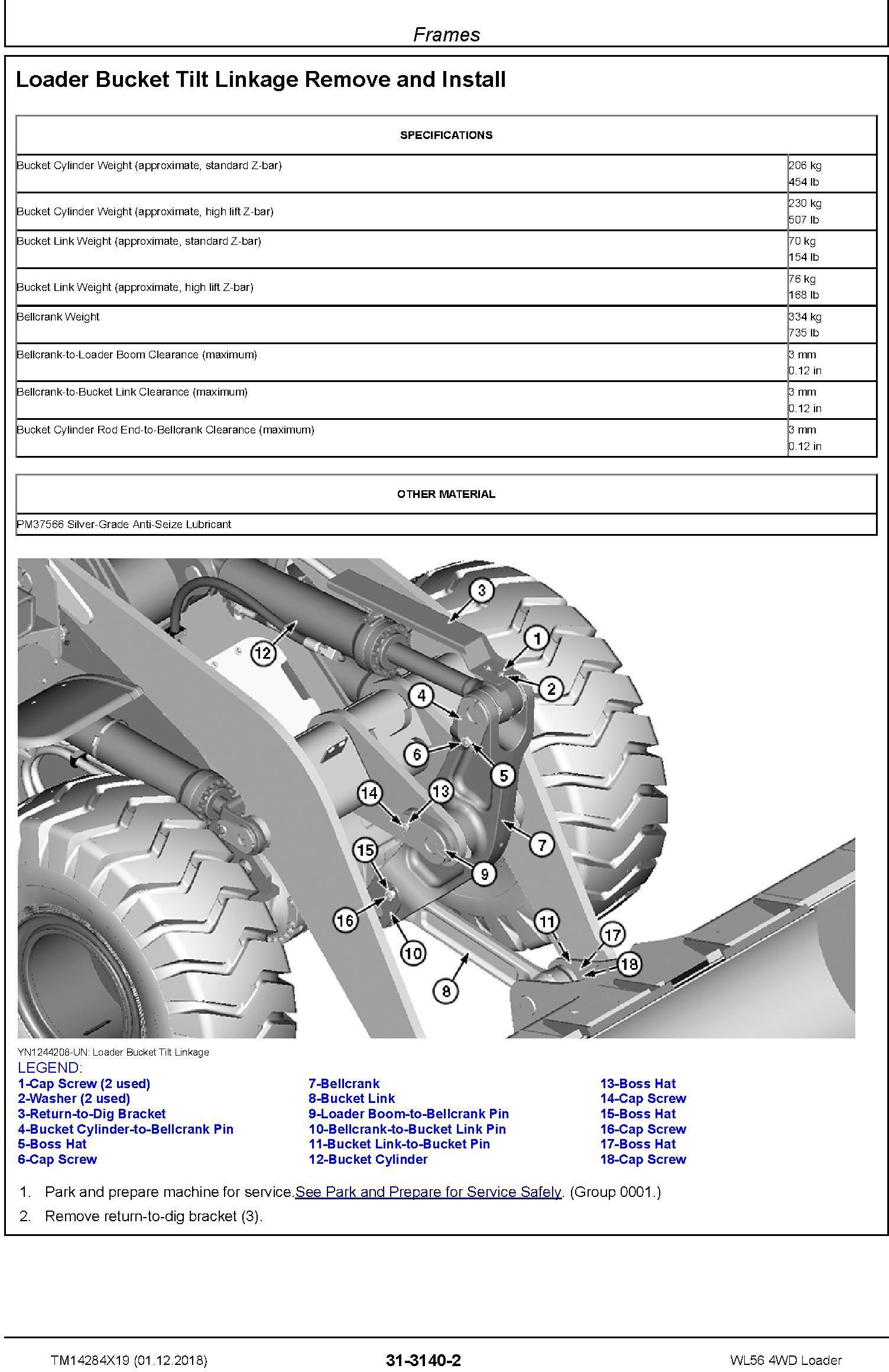 John Deere WL56 (SN. D000001-) 4WD Loader Service Repair Technical Manual (TM14284X19) - 2