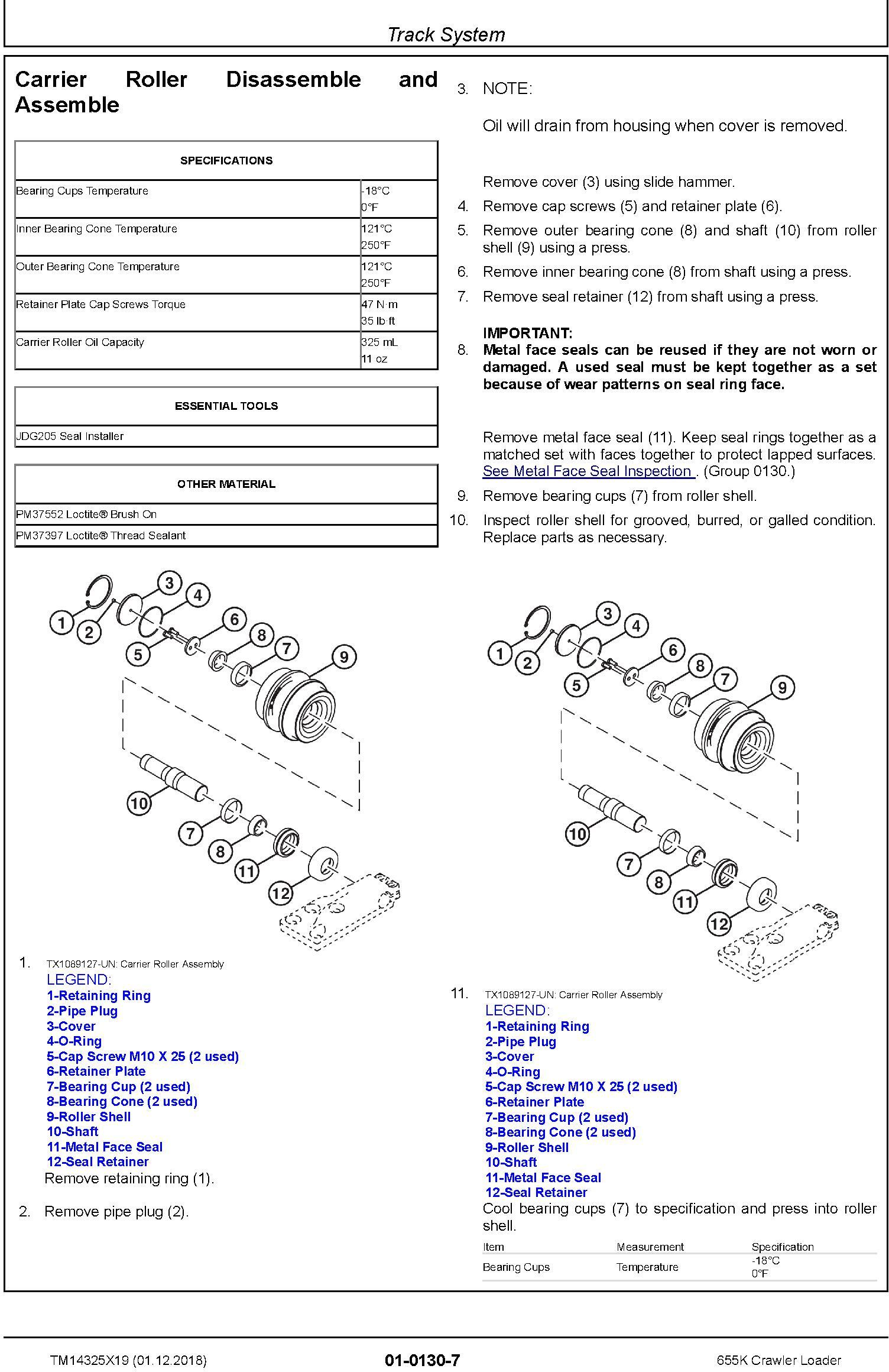 John Deere 655K Crawler Loader Repair Technical Manual (TM14325X19) - 1