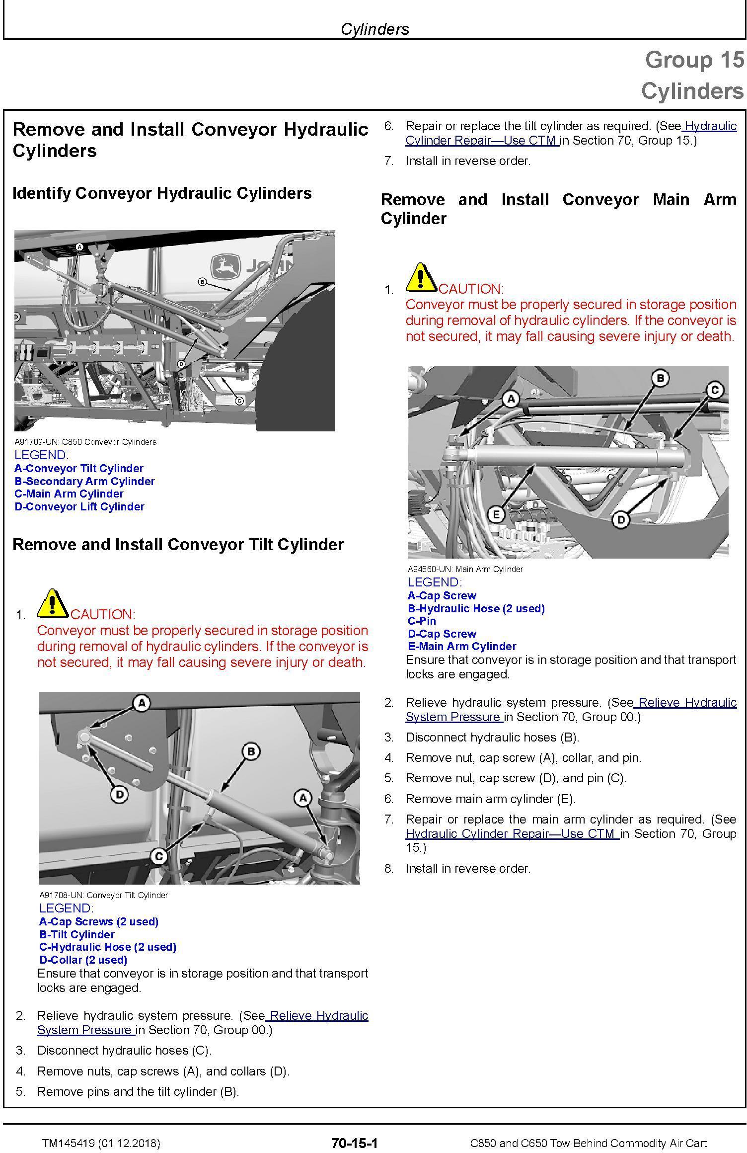 John Deere C850 and C650 Tow Behind Commodity Air Cart Repair Technical Service Manual (TM145419) - 2