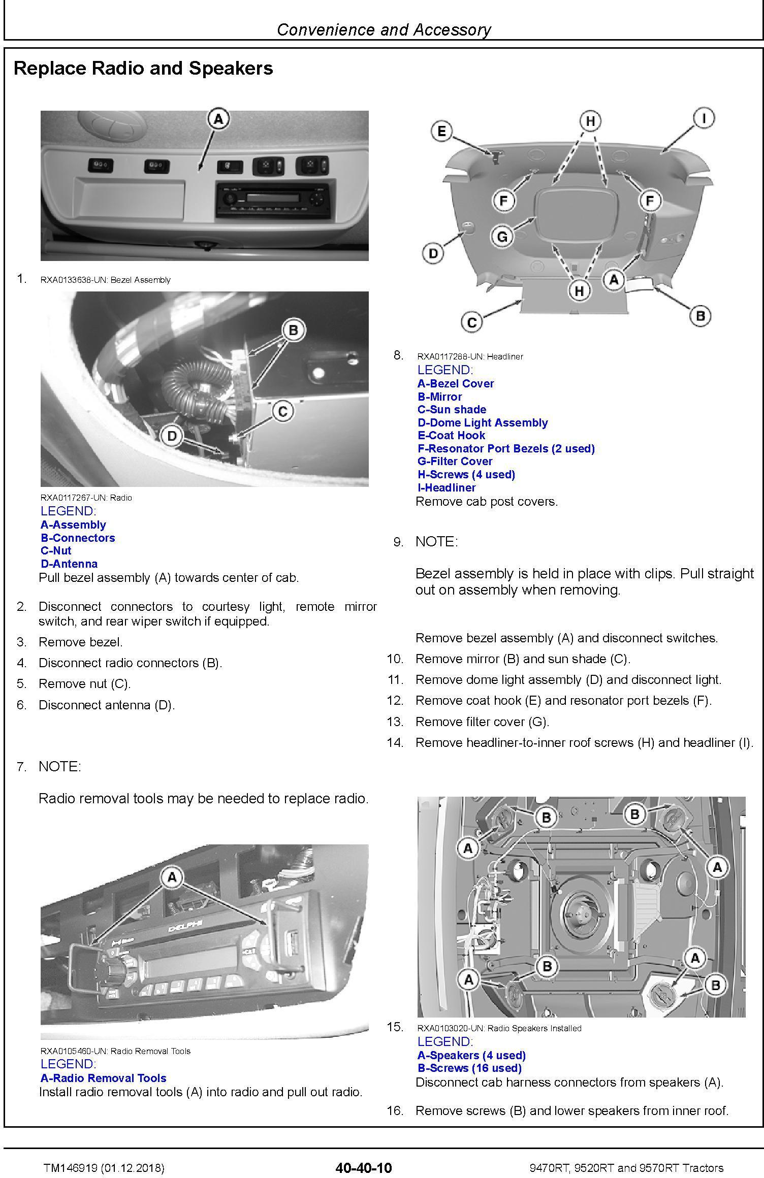 John Deere 9470RT, 9520RT and 9570RT Tractors (SN. 917000-) Repair Technical Manual (TM146919) - 1