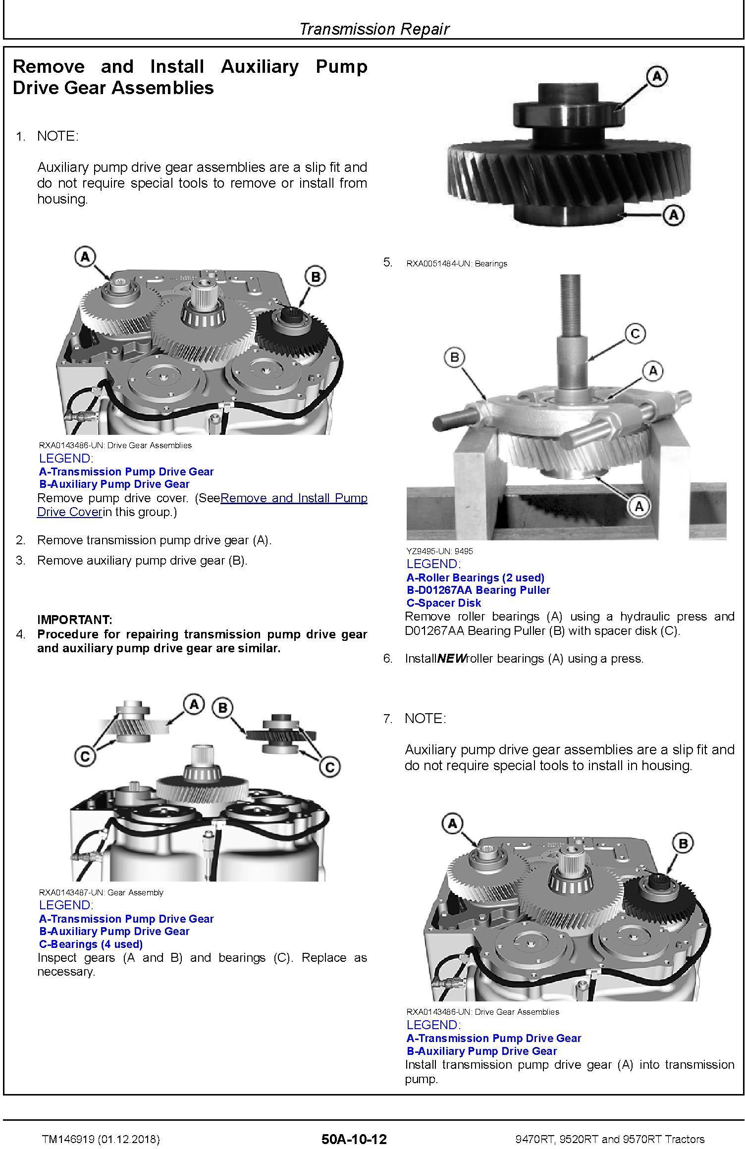 John Deere 9470RT, 9520RT and 9570RT Tractors (SN. 917000-) Repair Technical Manual (TM146919) - 2
