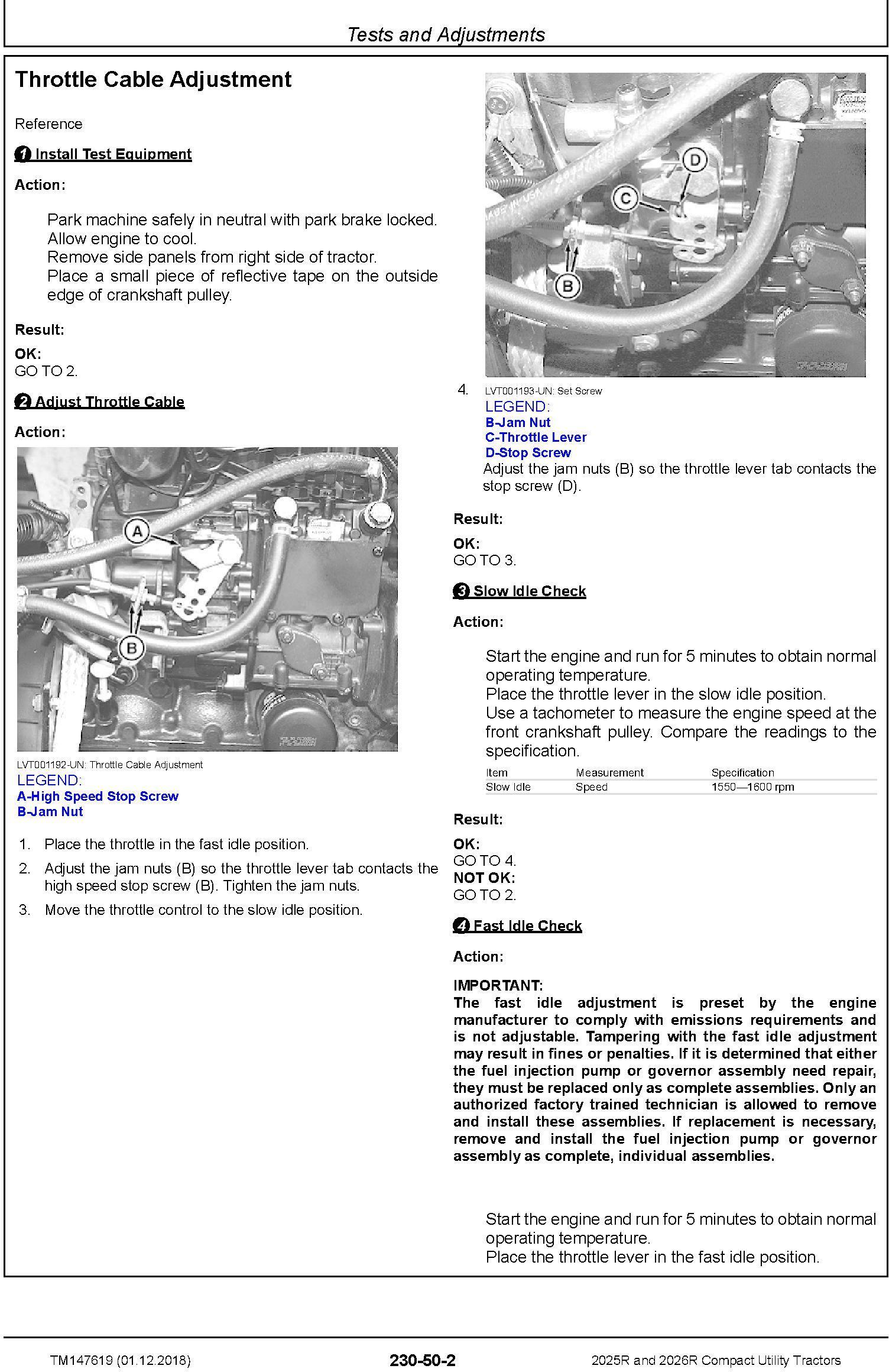 John Deere 2025R, 2026R Compact Utility Tractors (SN.HH100001-) Technical Service Manual (TM147619) - 1