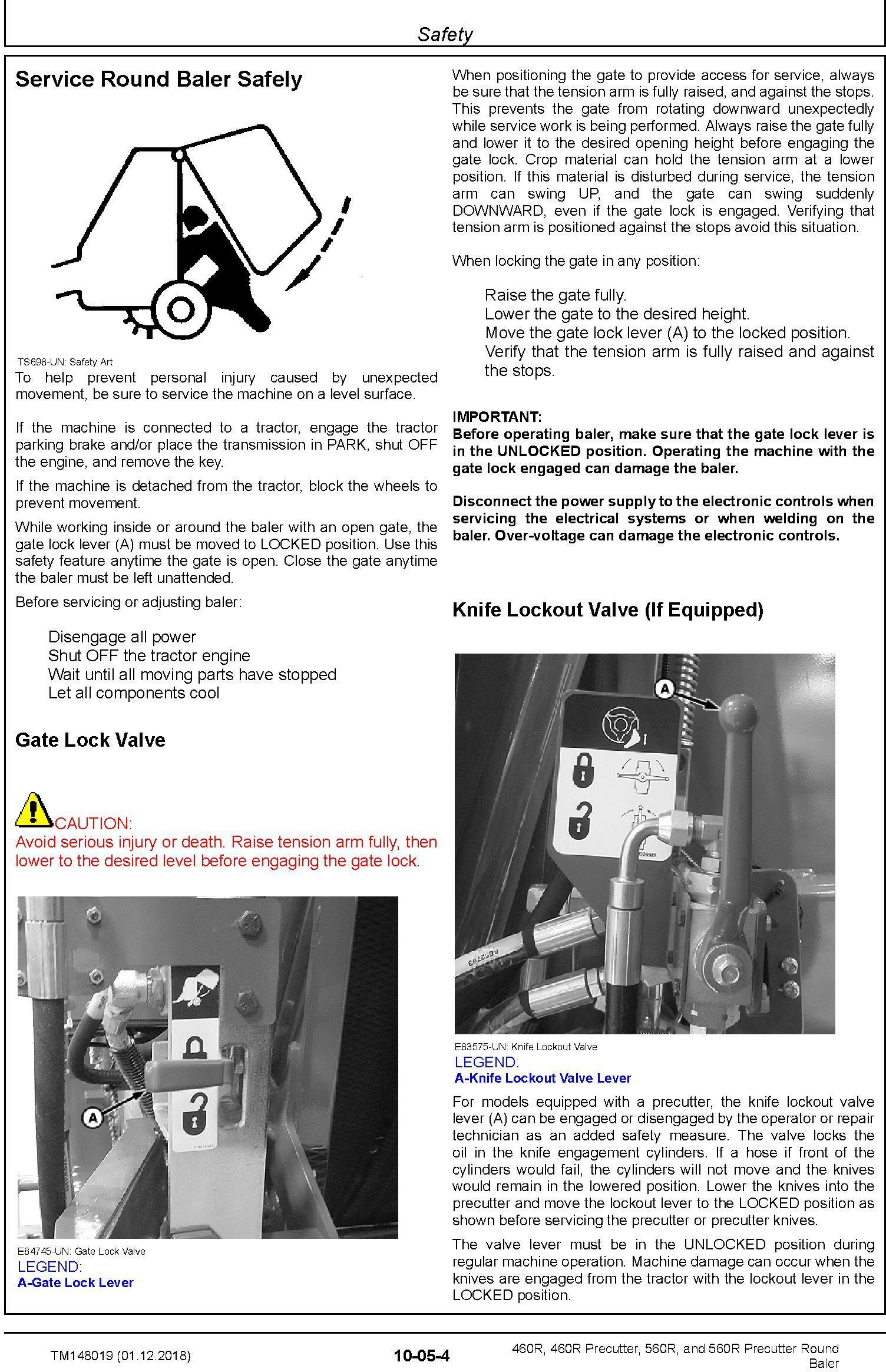 John Deere 460R, 460R Precutter, 560R, and 560R Precutter Round Baler Technical Manual (TM148019) - 1