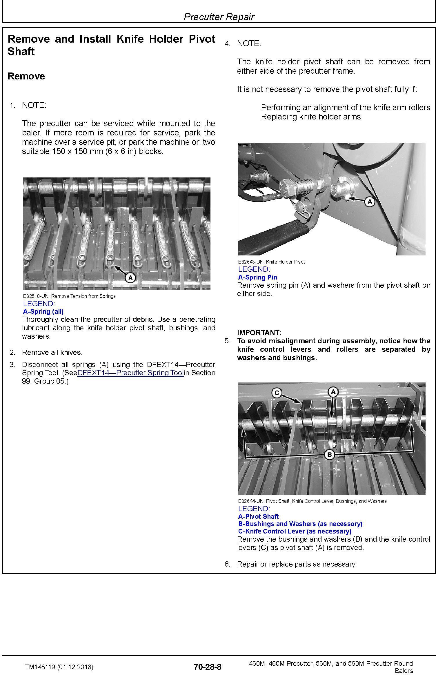 John Deere 460M, 460M Precutter, 560M, and 560M Precutter Round Balers Technical Manual (TM148119) - 1