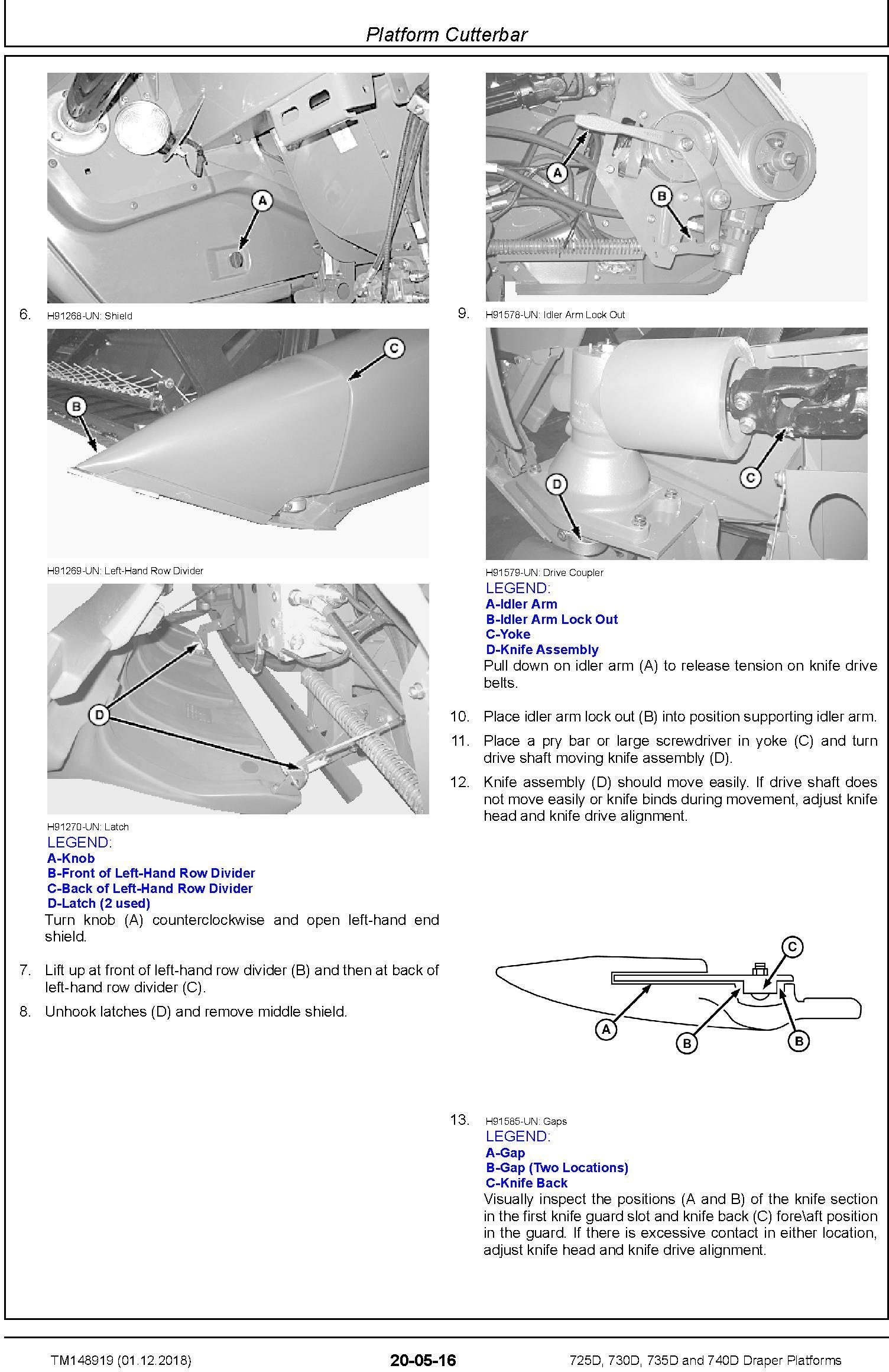 John Deere 725D, 730D, 735D and 740D Draper Platforms Repair Technical Service Manual (TM148919) - 1