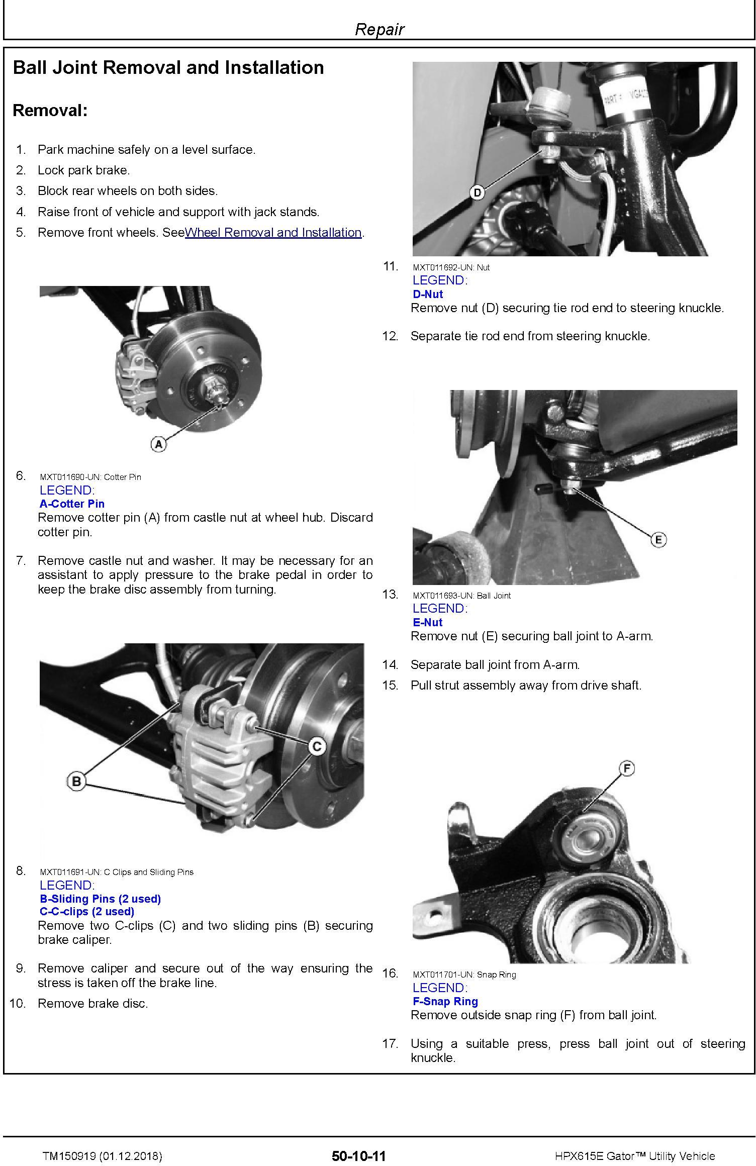 John Deere HPX615E Gator Utility Vehicle (SN. 010001-) Technical Manual (TM150919) - 1