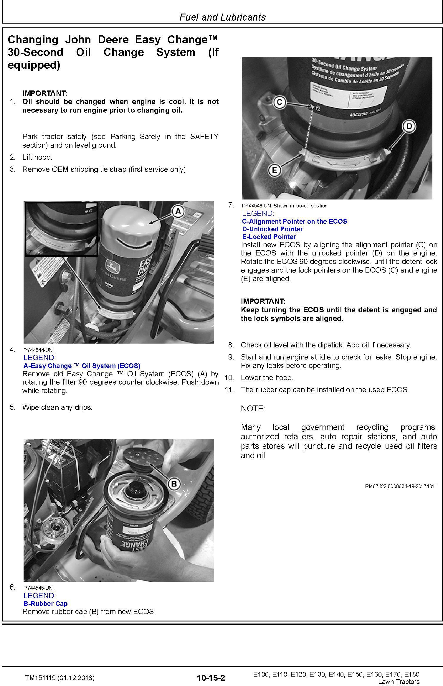 John Deere E100 E110 E120 E130 E140 E150 E160 E170 E180 Lawn Tractors Technical Manual (TM151119) - 1