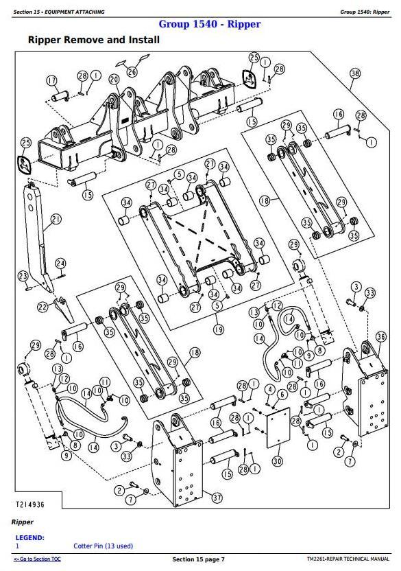 TM2261 - John Deere 750J (S.N. -141343) , 850J (S.N.-130885) Crawler Dozer Service Repair Manual - 2