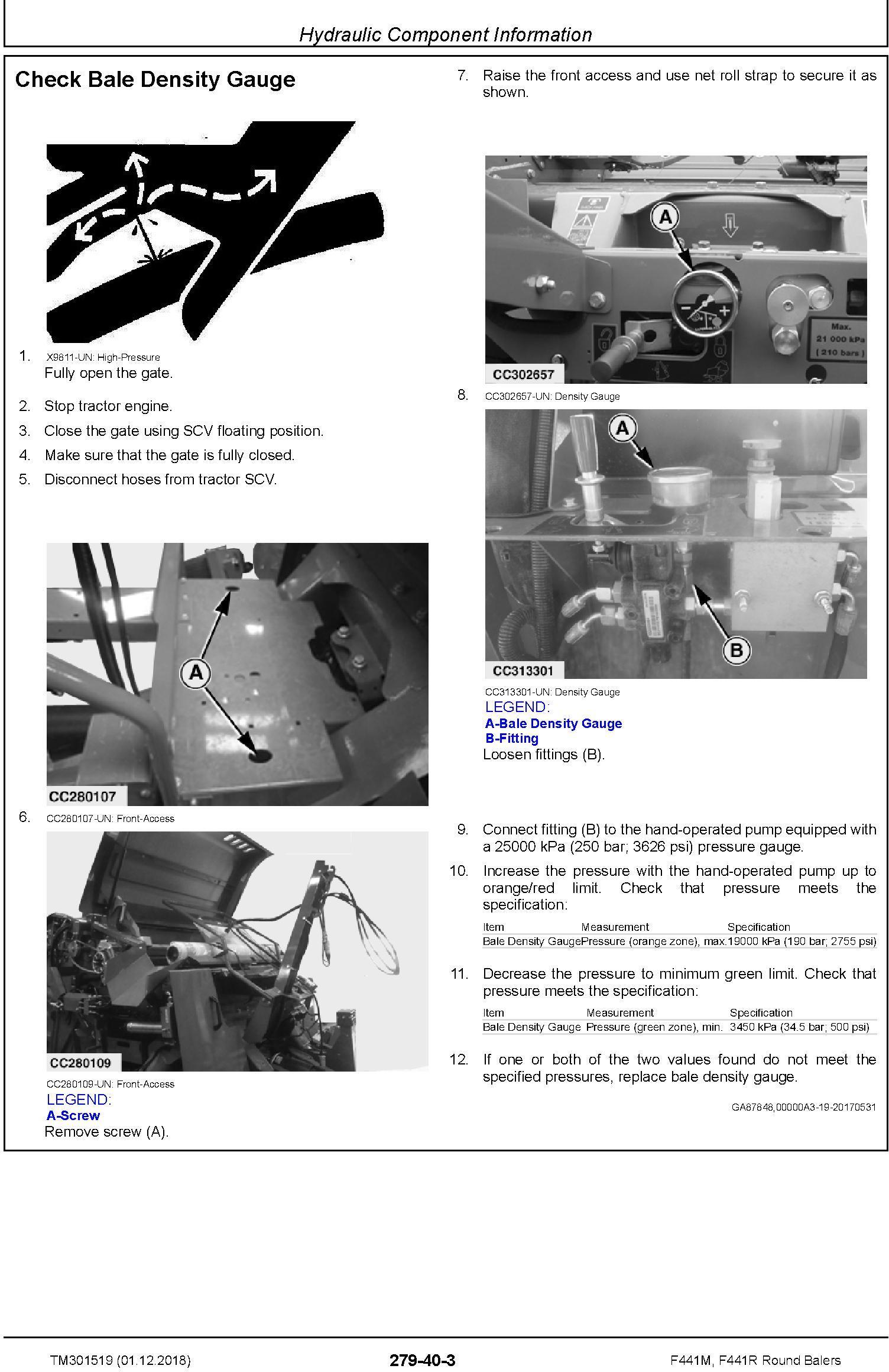 John Deere F441M, F441R Round Balers Diagnostic Technical Service Manual (TM301519) - 3