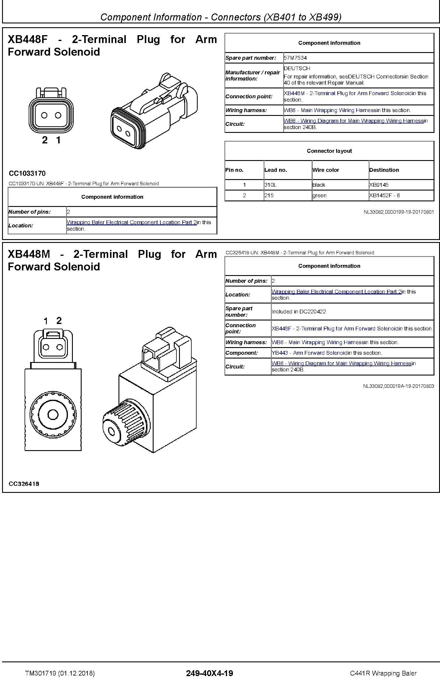 JD John Deere C441R Wrapping Baler Diagnostic Technical Service Manual (TM301719) - 1
