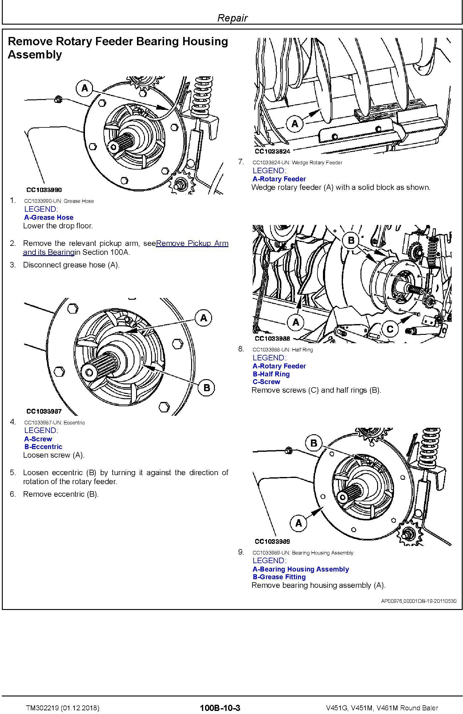 John Deere V451G, V451M, V461M Round Baler Service Repair Technical Manual (TM302219) - 1