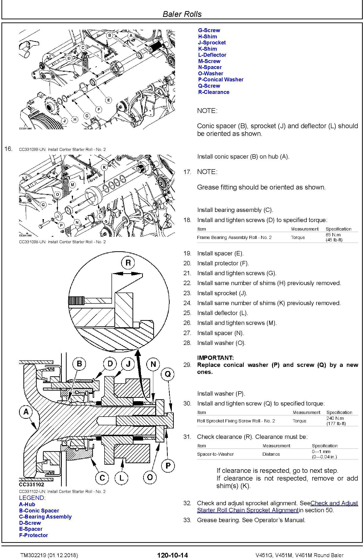 John Deere V451G, V451M, V461M Round Baler Service Repair Technical Manual (TM302219) - 3