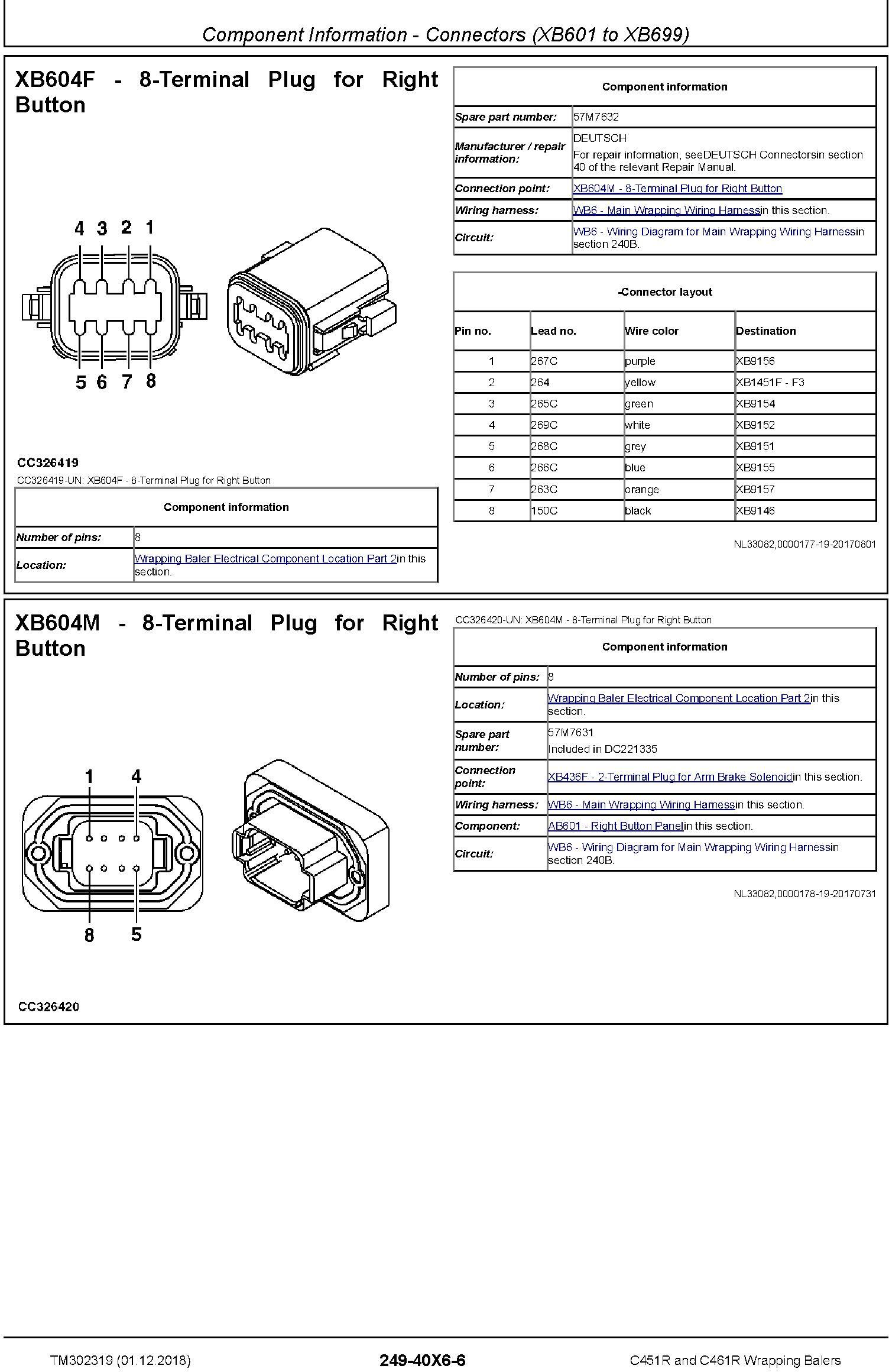 John Deere C451R and C461R Wrapping Balers Diagnostic Technical Service Manual (TM302319) - 2