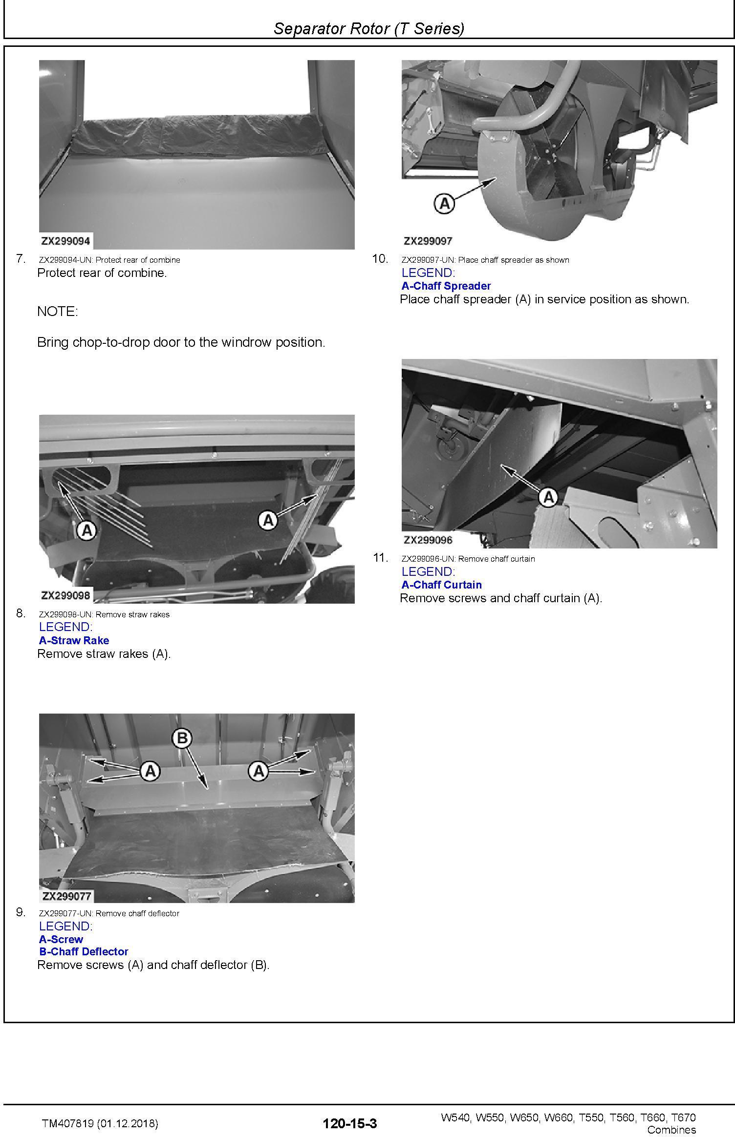 John Deere W540, W550, W650, W660, T550, T560, T660, T670 Combine Repair Technical Manual (TM407819) - 1