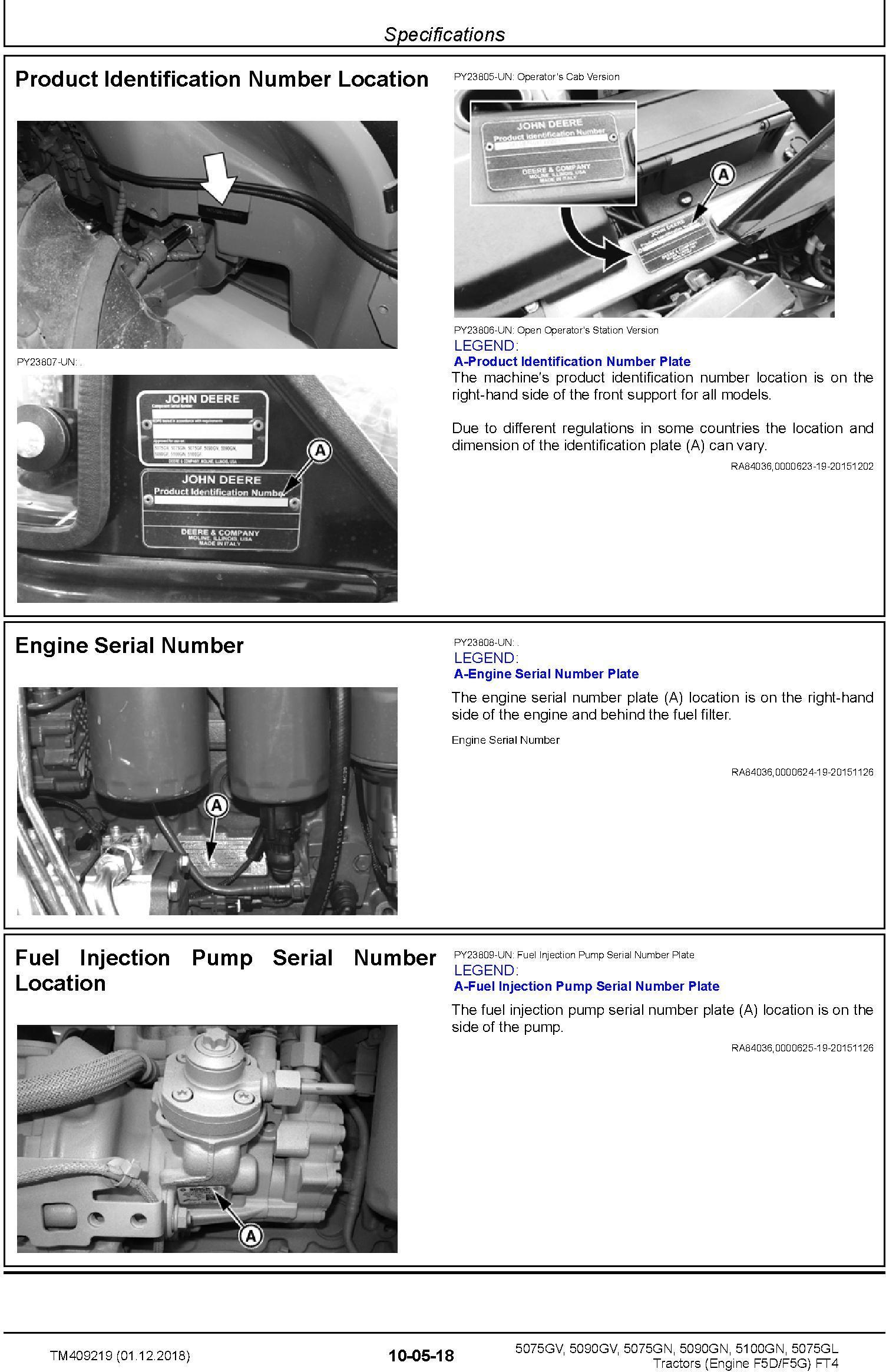 John Deere 5075GL,5075GV, 5075GN, 5090GV,5090GN, 5100GN MY2016-19 Tractors Repair Manual (TM409219) - 1