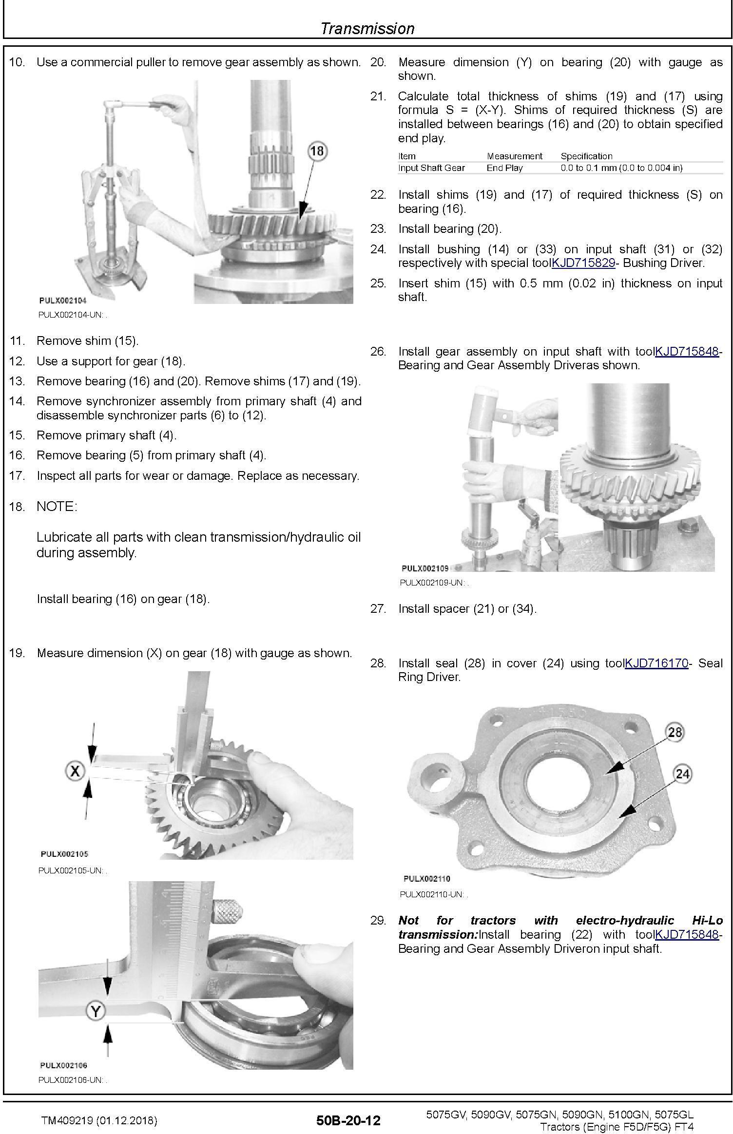 John Deere 5075GL,5075GV, 5075GN, 5090GV,5090GN, 5100GN MY2016-19 Tractors Repair Manual (TM409219) - 3
