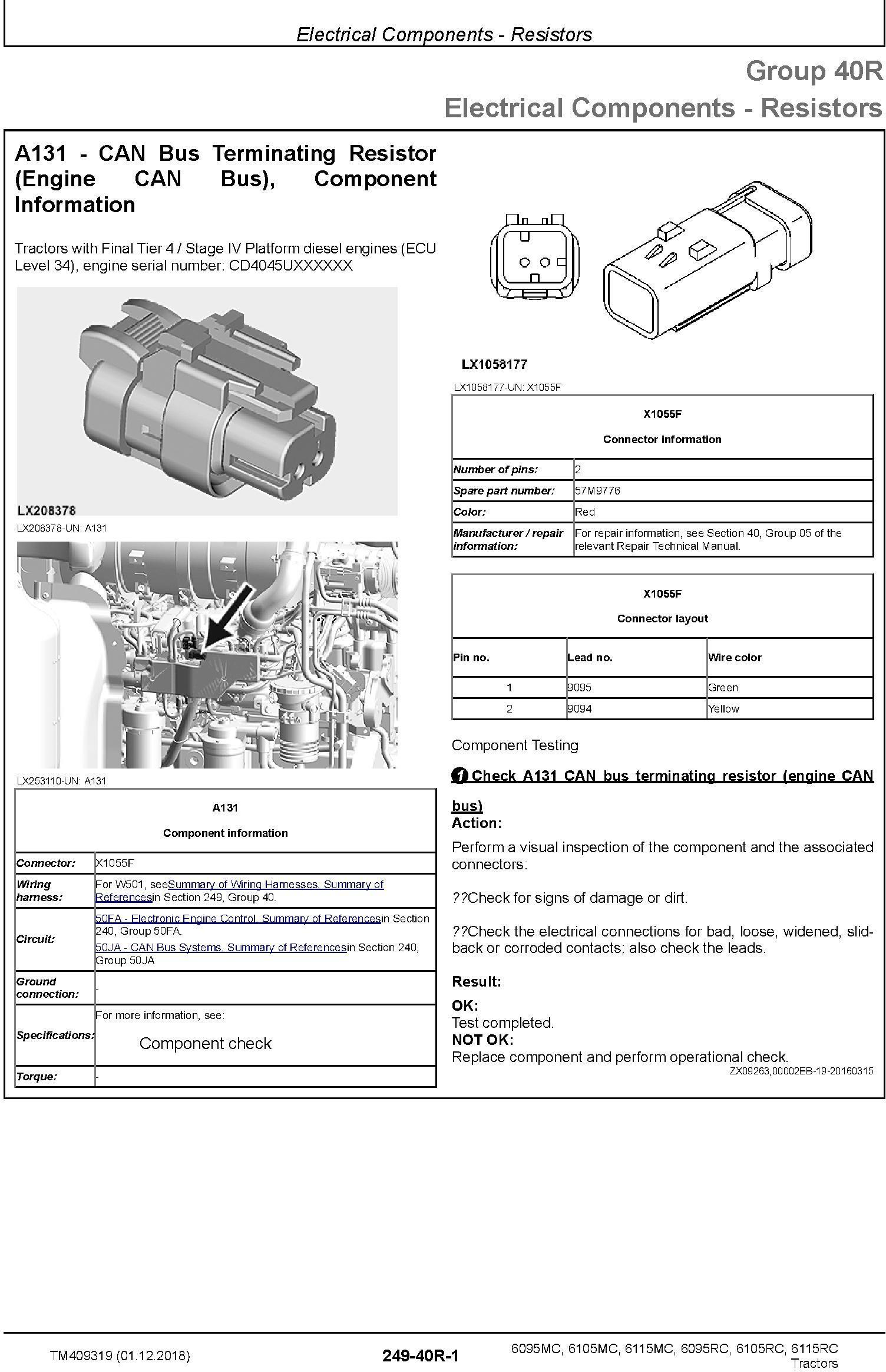 John Deere 6095MC 6105MC 6115MC 6095RC 6105RC 6115RC Tractors MY2016-17 Diagnostic Manual (TM409319) - 2