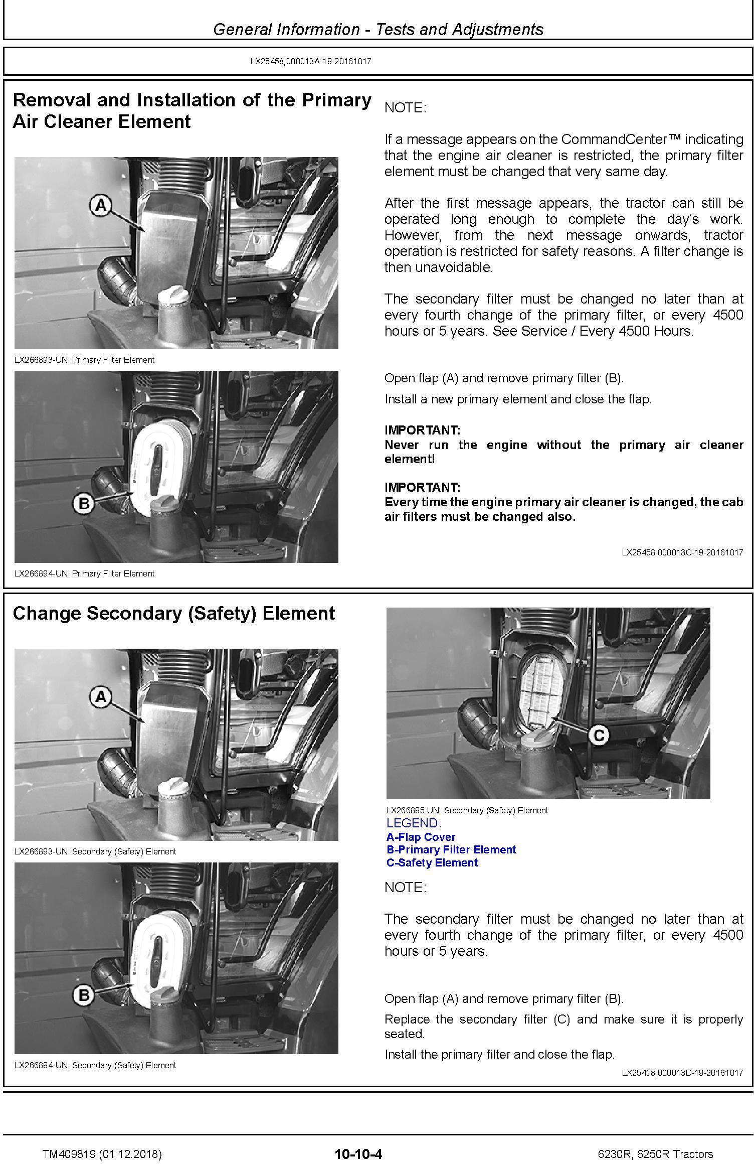 John Deere 6230R, 6250R Tractors MY2017,18,19 Service Repair Technical Manual (TM409819) - 1