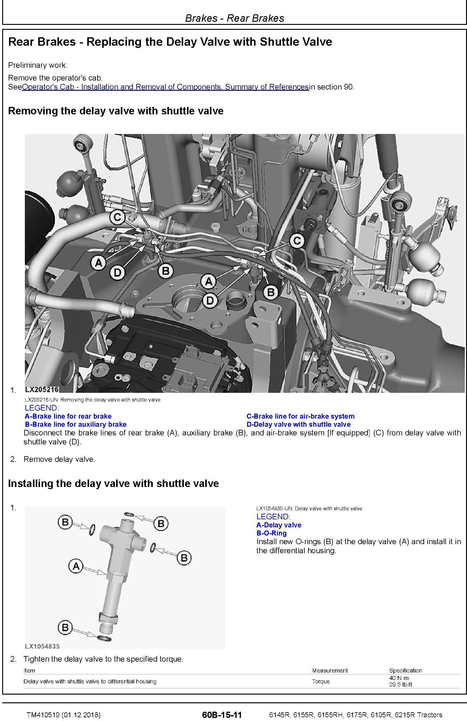 John Deere 6145R, 6155R, 6155RH, 6175R, 6195R, 6215R MY18 Tractor Repair Technical Manual (TM410519) - 1