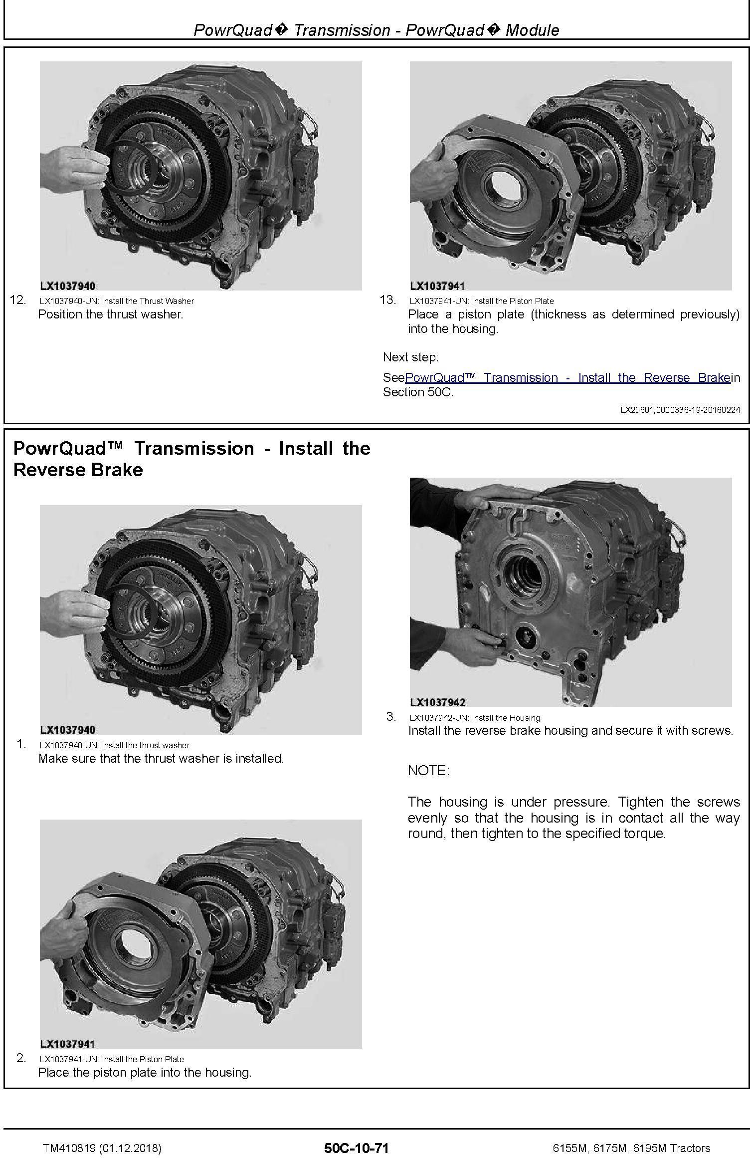 John Deere 6155M, 6175M, 6195M Tractors (MY18) Repair Technical Manual (TM410819) - 1