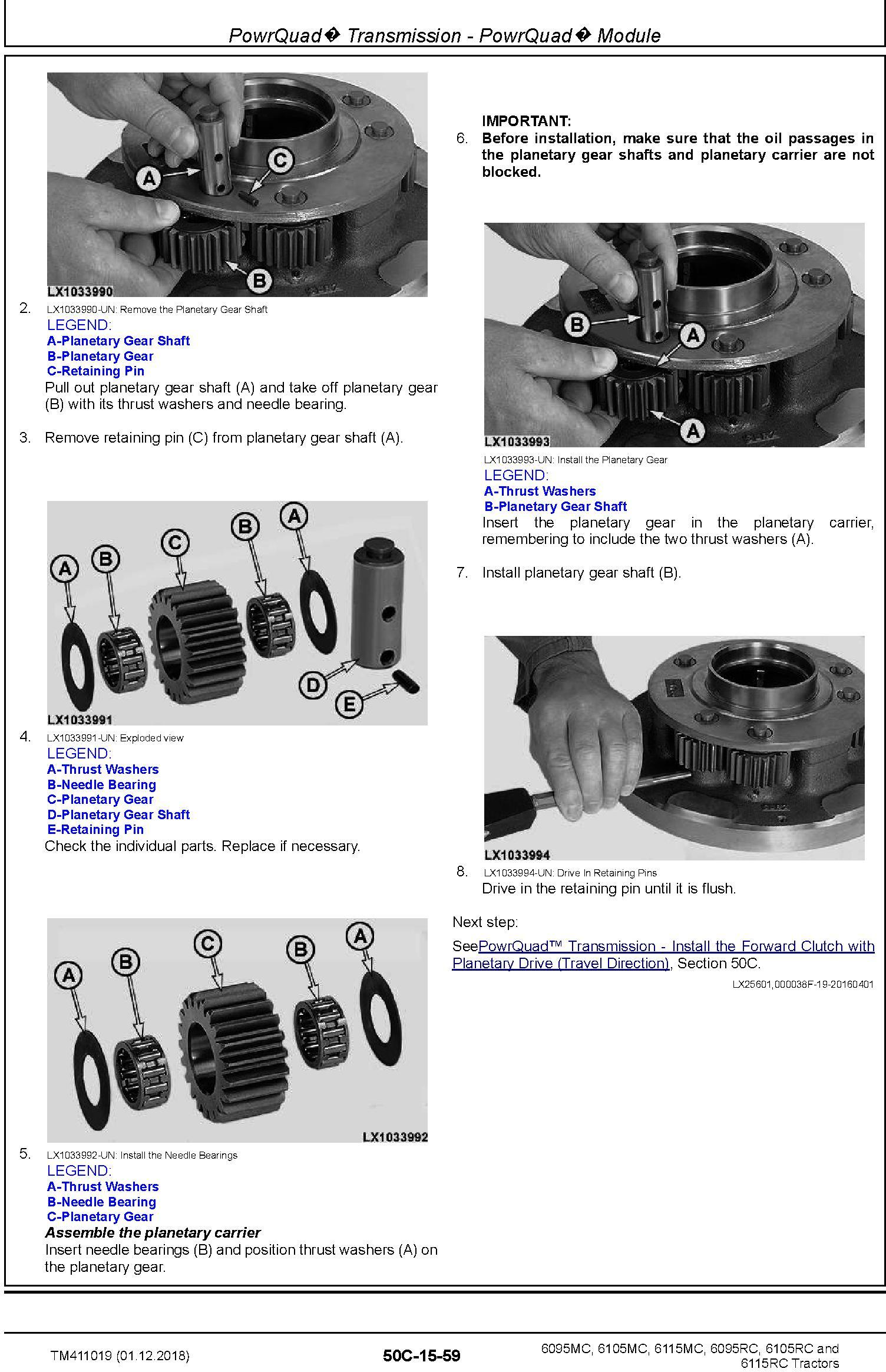 John Deere 6095MC, 6095RC, 6105MC, 6105RC, 6115MC, 6115RC Tractor Repair Technical Manual (TM411019) - 1