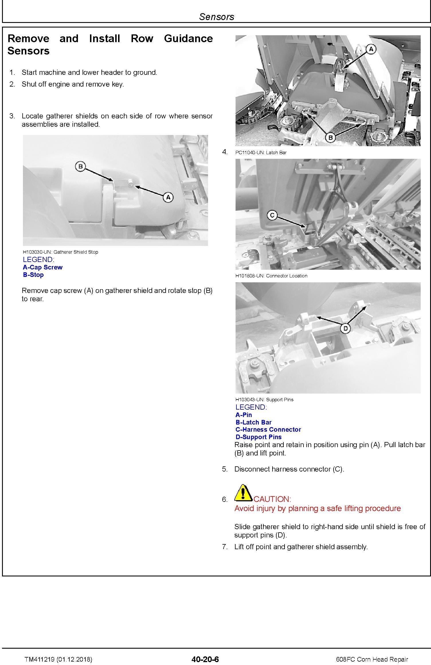 John Deere 608FC Corn Head Repair Technical Manual (TM411219) - 2